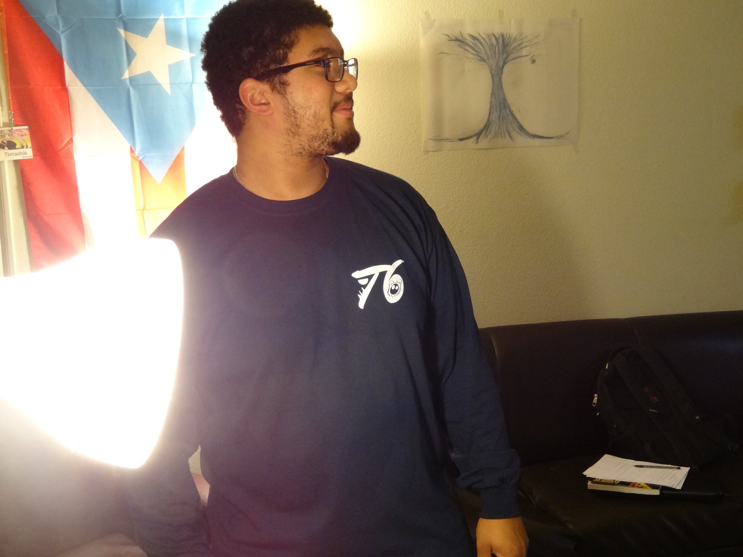 Front Navy Blue Long Sleeve Shirt