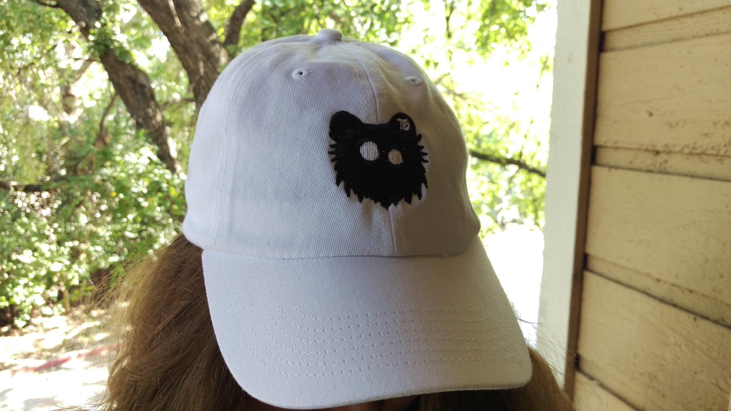 White Dad Hat Black Out Logo