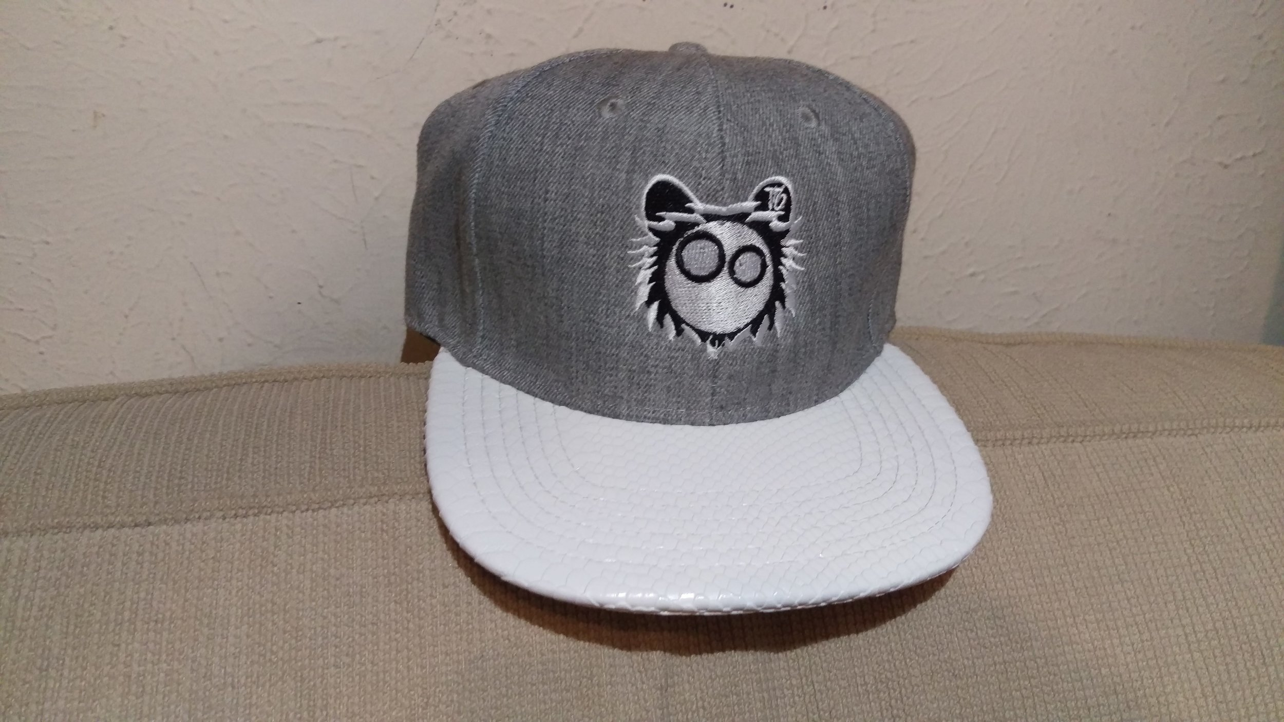 Grey Snapback White Reptile White Logo
