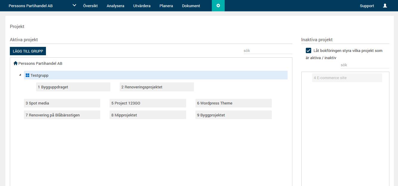 Skapa egna grupper av projekt så ni enkelt kan summera flera projekt till en rapport!