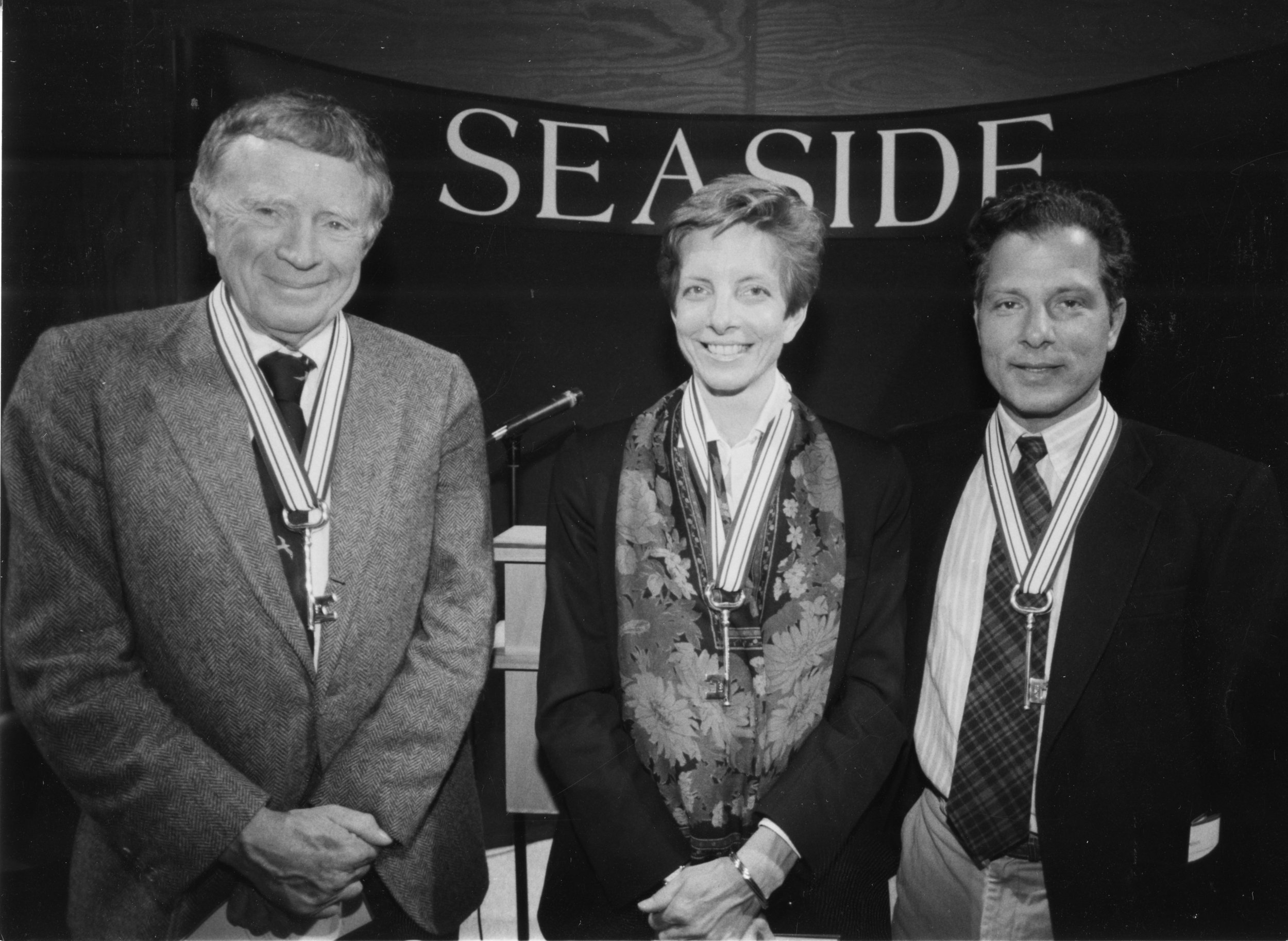 Vincent Scully, Elizabeth Plater-Zyberk and Andrés Duany,Seaside Fellows.  1993 Seaside Prize Winners
