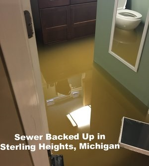 Sewer backup in Sterling Heights, Michigan
