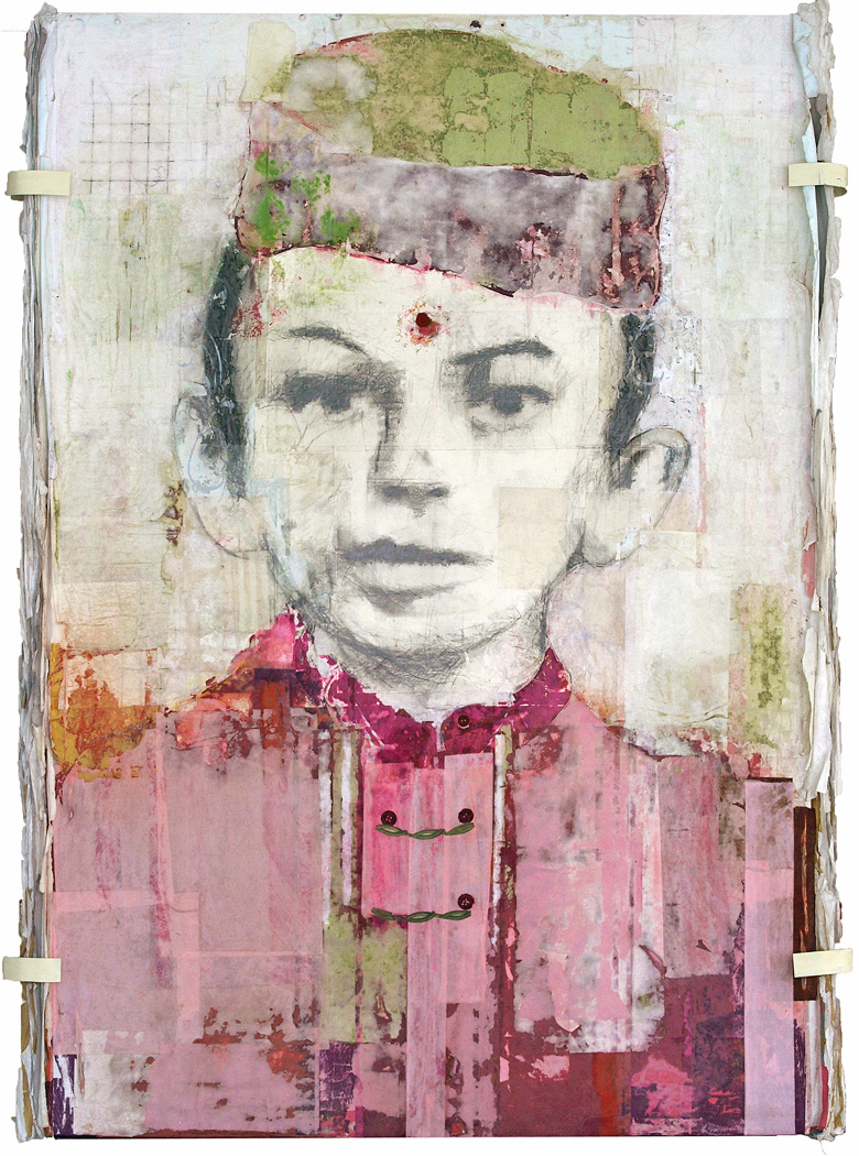Gandhi, 2012, 48 x 72 inches, Mixed media on board
