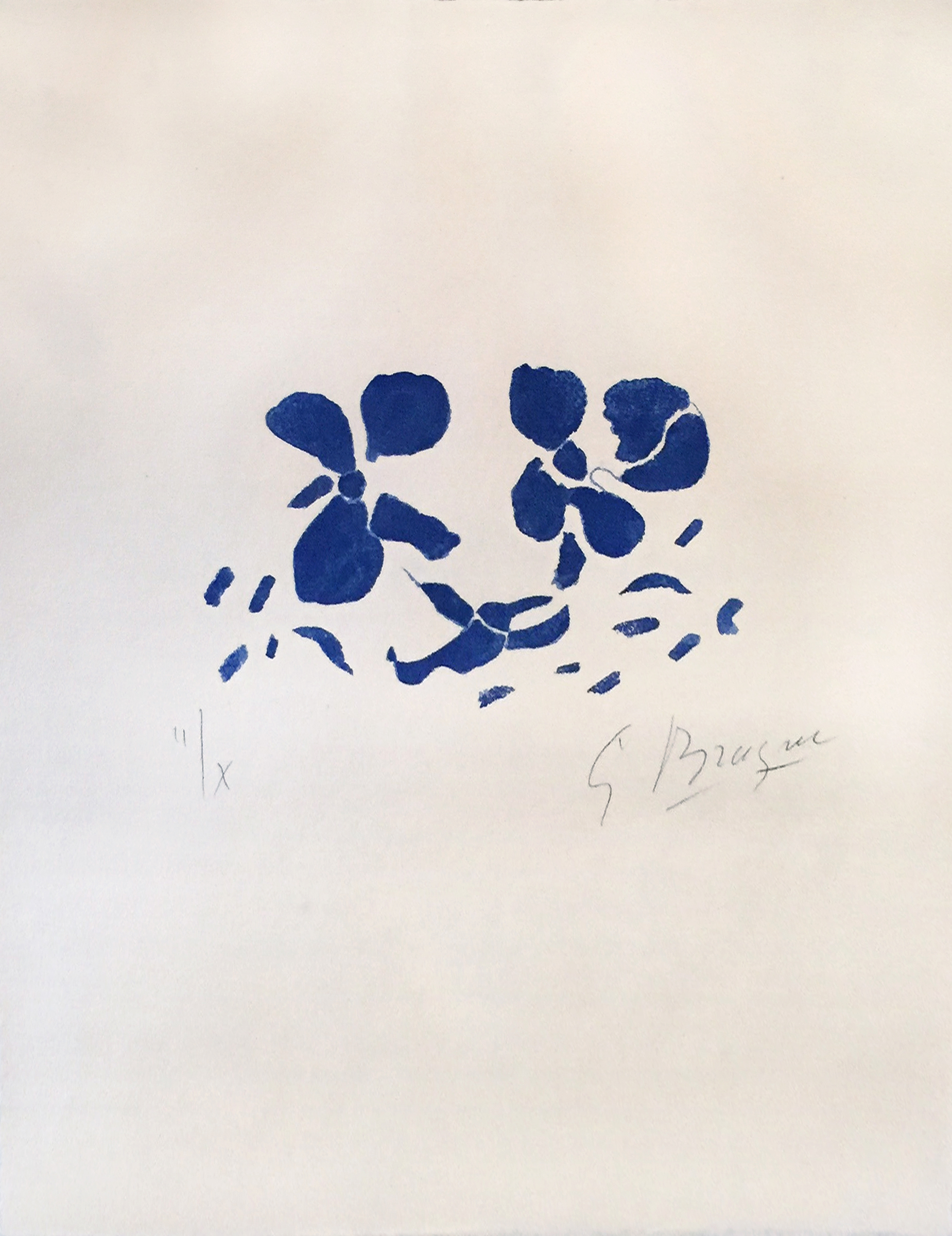 Fleurs Bleues (ed. 2 of 10), 1962, 14.25 x 18.5 inches, Color Woodcut on Japon nacre paper (Sold)