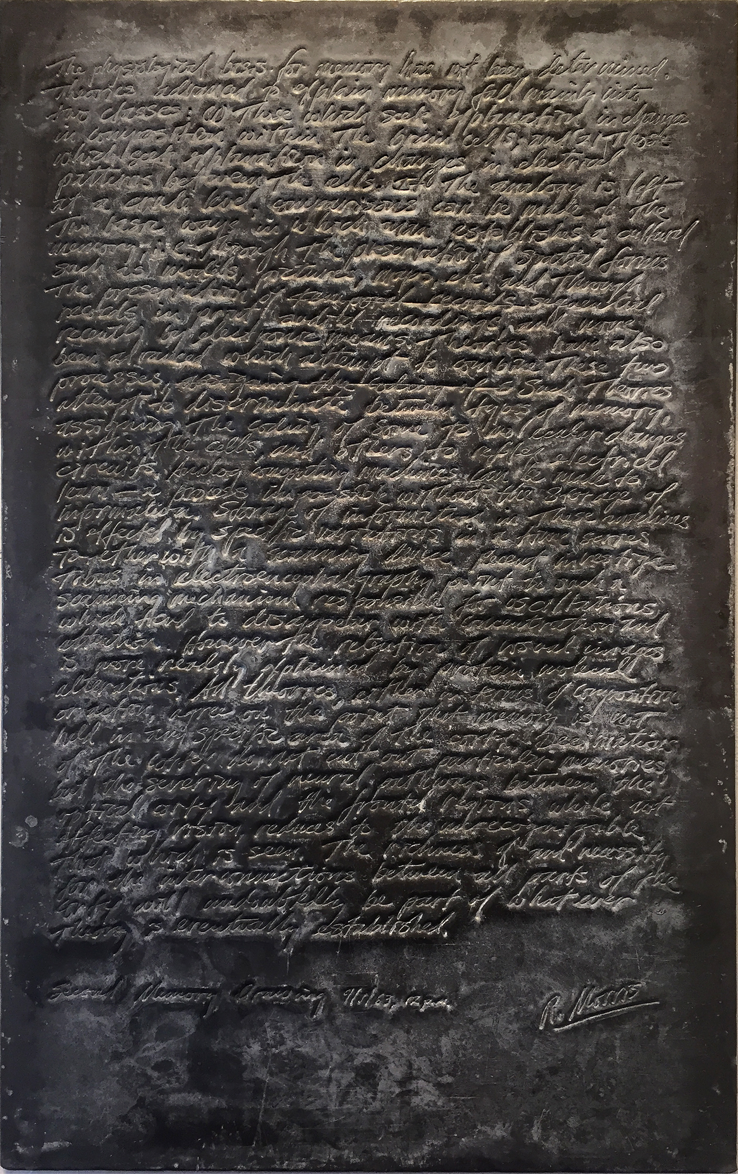 Second memory Drawing, 1963, 21 x 13 inches, Embossed lead relief panel (SOLD)