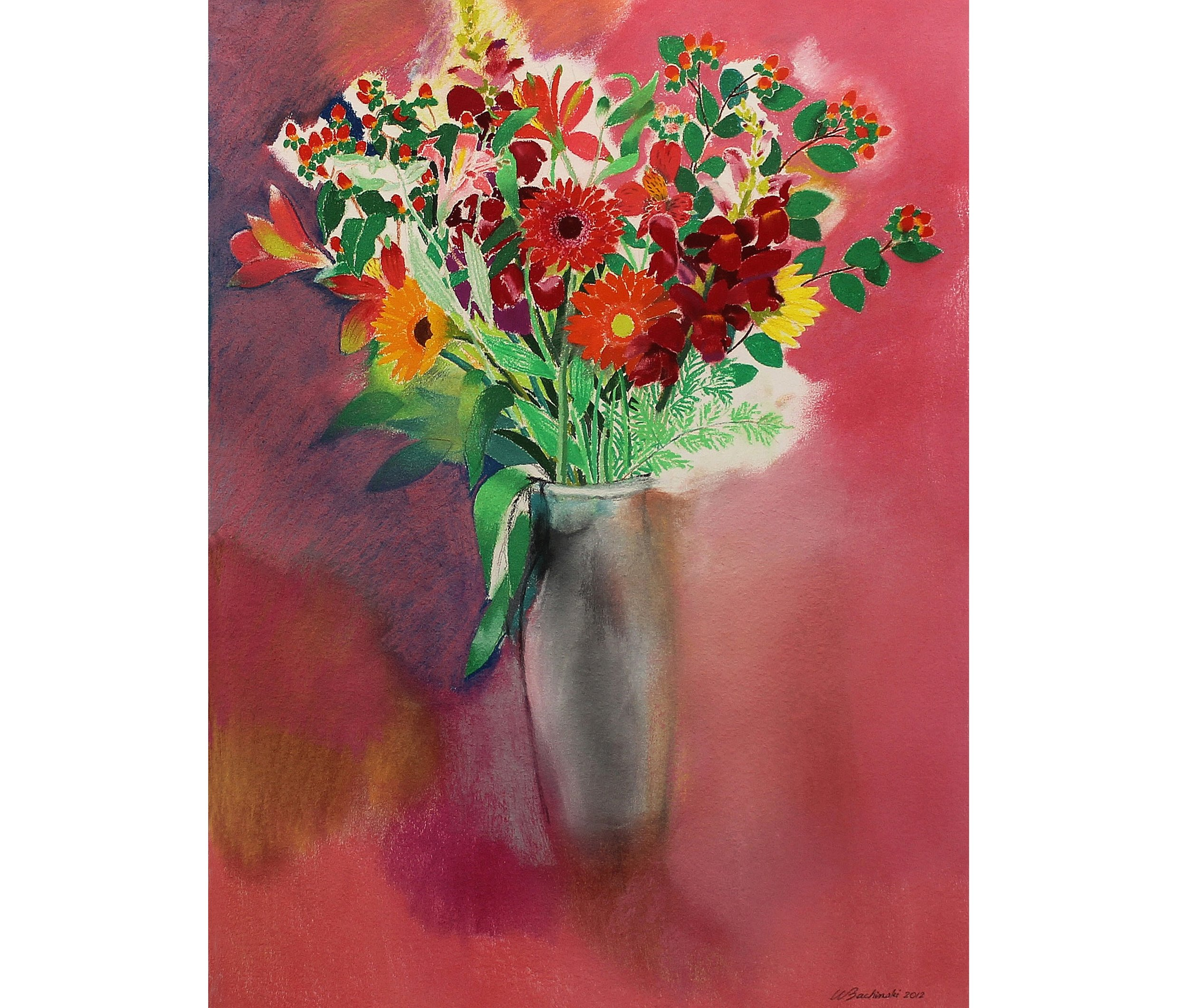 Bouquet of Flowers (Gray Vase, Rose Ground), 2012, 27.5 x 20.5 inches, Pastel on paper
