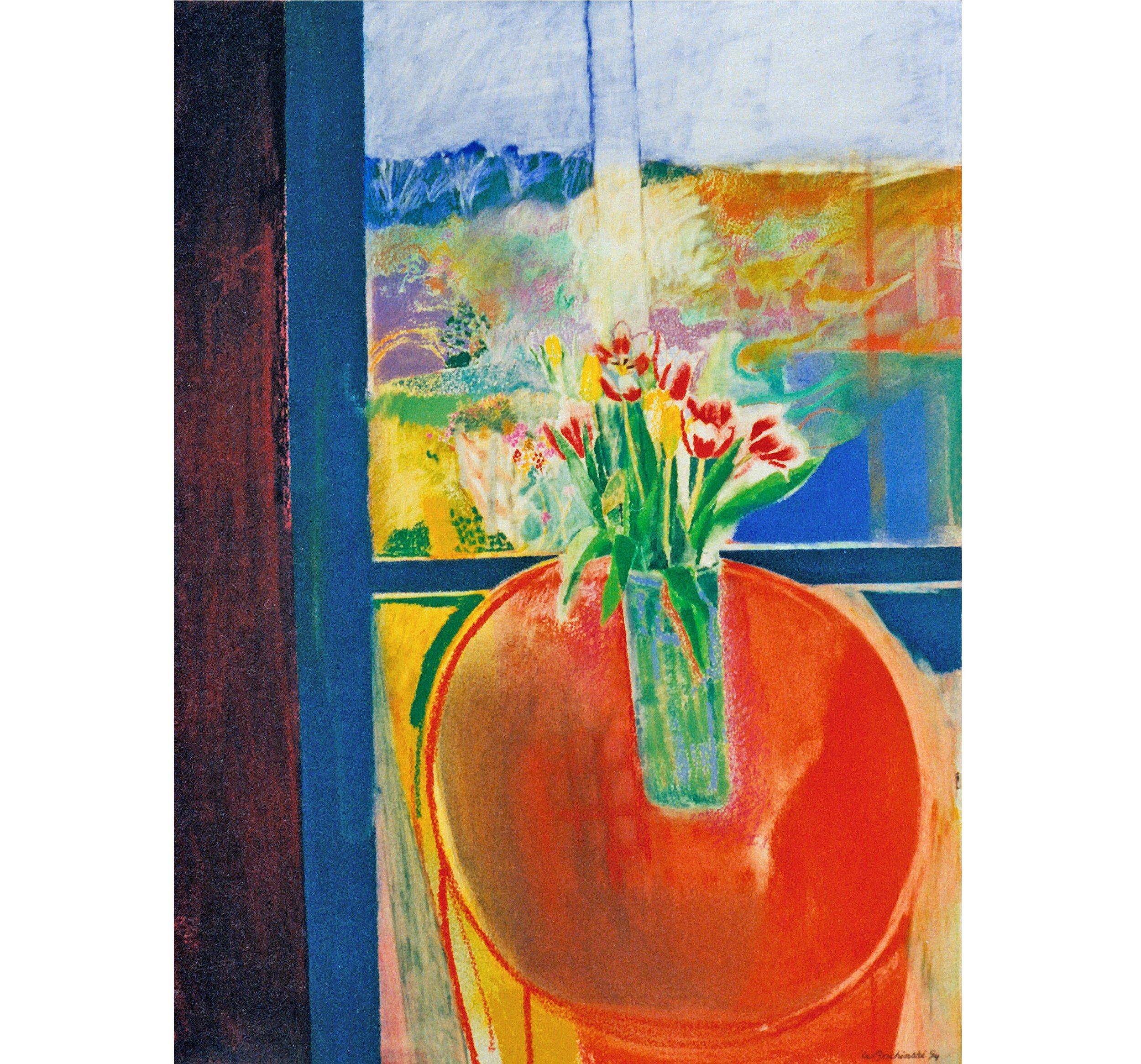 Tulip in a Glass Vase, Shanty Bay Spring, 1994, 29.25 x 21.75 inches, Pastel on paper