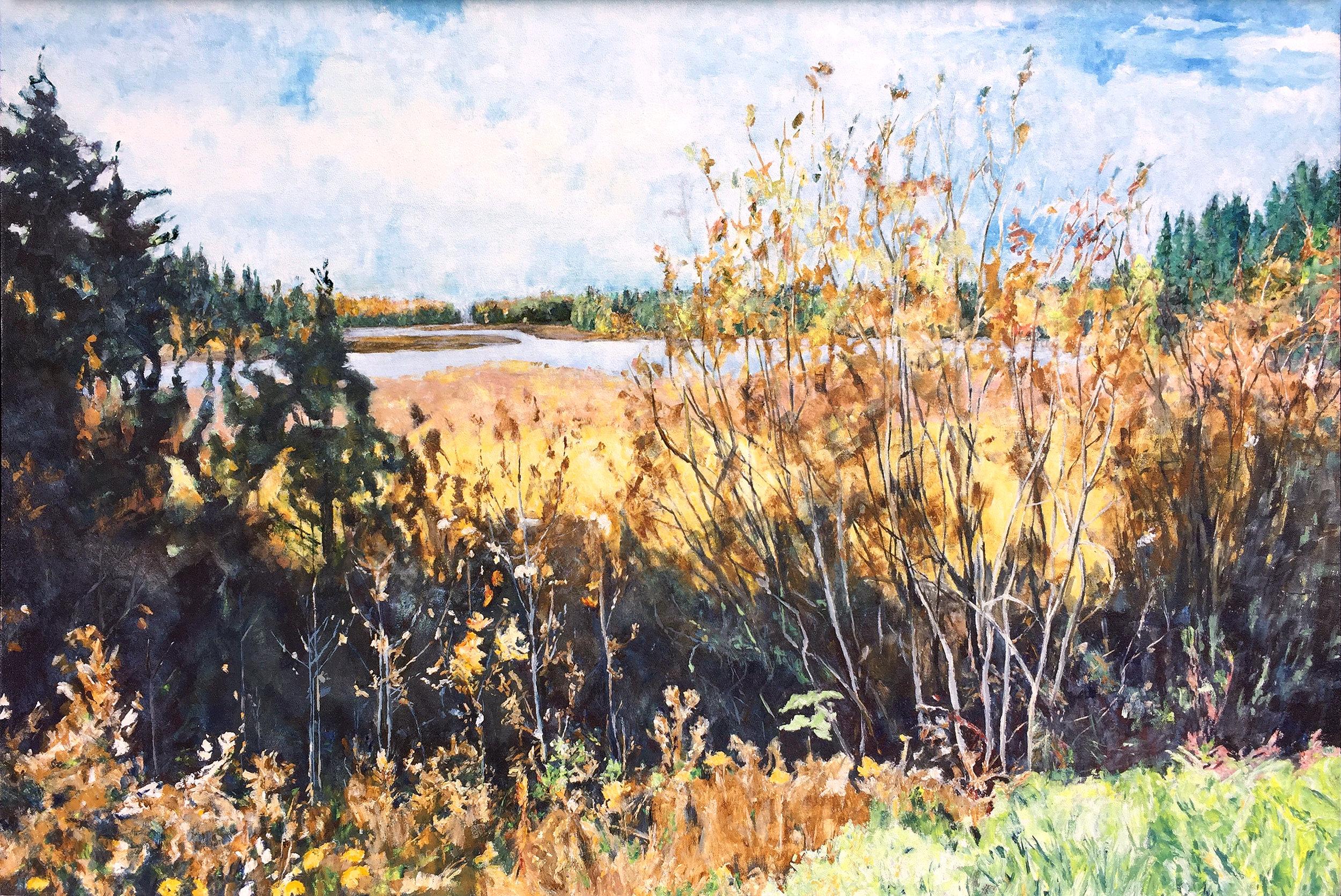 Dark Shadows, Spruce River Reservoir (AC-006-99), 1999, 48 x 72 inches, Acrylic on canvas