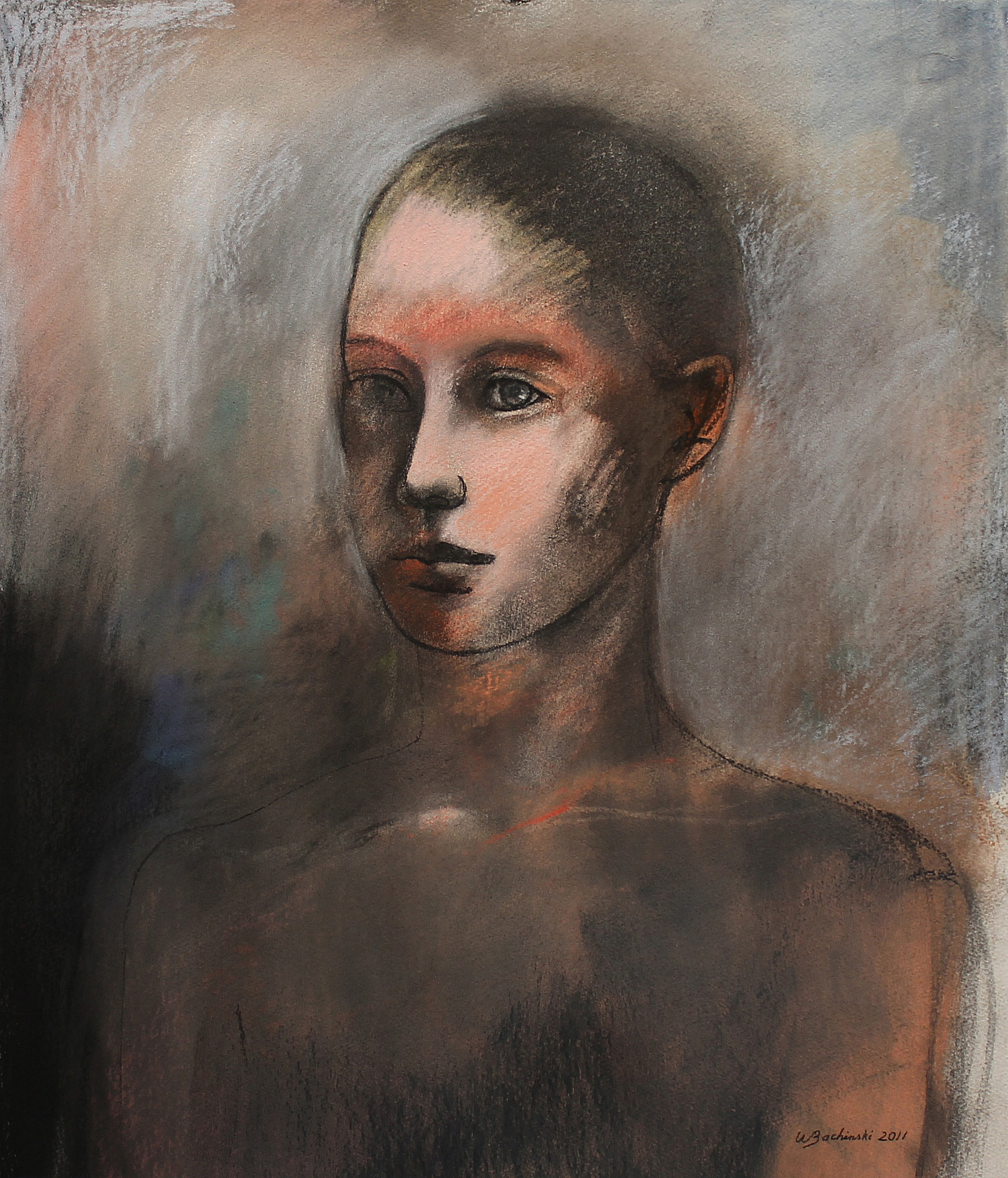 Young Man (Gray Ground), 2011, 22.38 x 20.25 inches, Pastel on paper