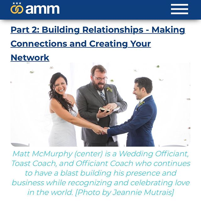 Happy #oFFiciantFriday! Here's part 2 for my guide for new officiants to grow heir business - this focuses on how to build relationships with other wedding professionals. Link in bio - enjoy!! Banner photo by @jeanniemutrais . . . . . #mattmarriesyou #weddingofficiant #norcal #officiant #bayarea #weddingofficiants #marin #sonoma #ammofficiant #marriage #wedding #sf #weddings #loveislove #marriageequality #getmarried  #weddingprofessional #weddingprofessionals #weddingprofessionalsformarriageequality #speechcoaching #OfficiantCoaching