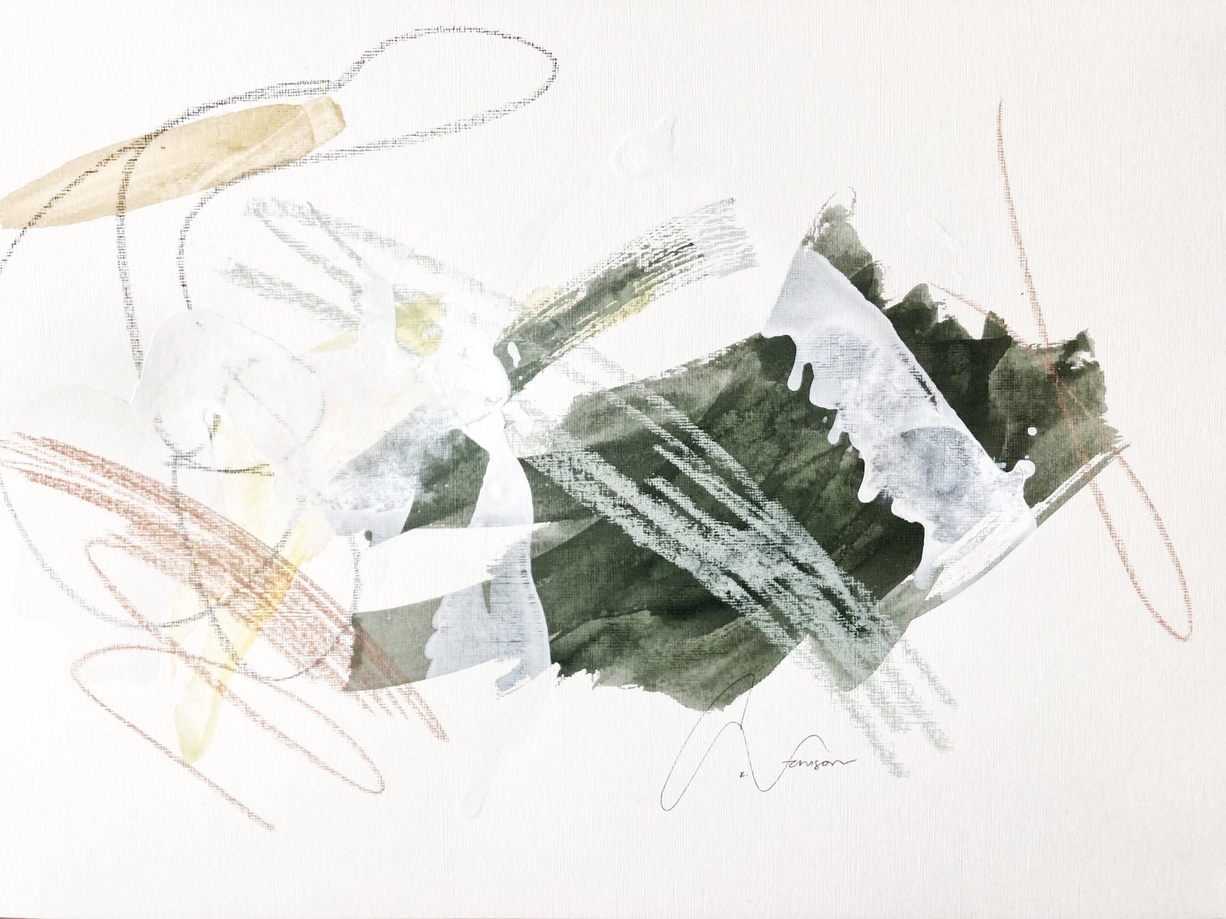 moss I - 18 x 12 | mixed media on paper