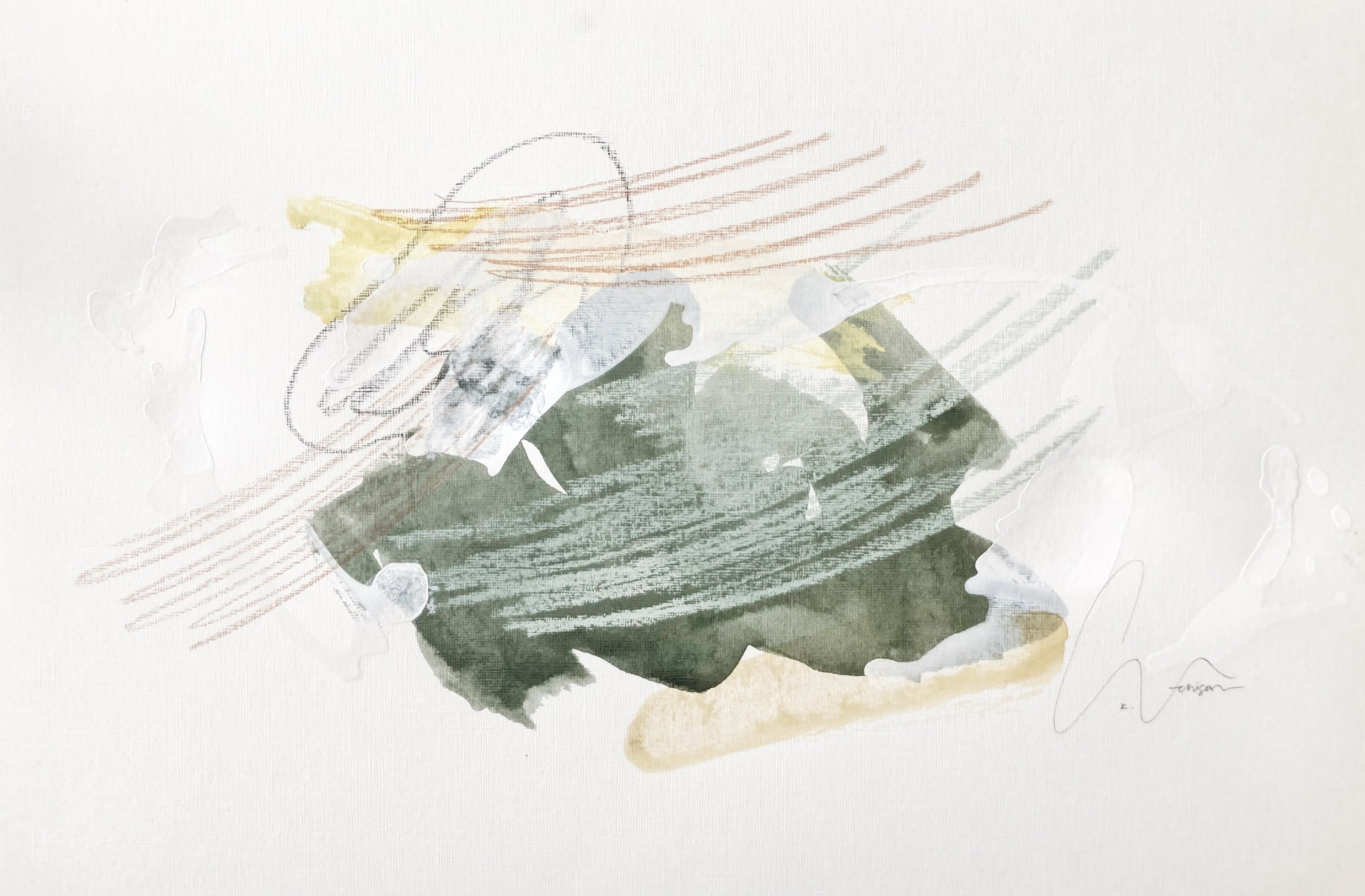 moss ii - 18 x 12 | mixed media on paper