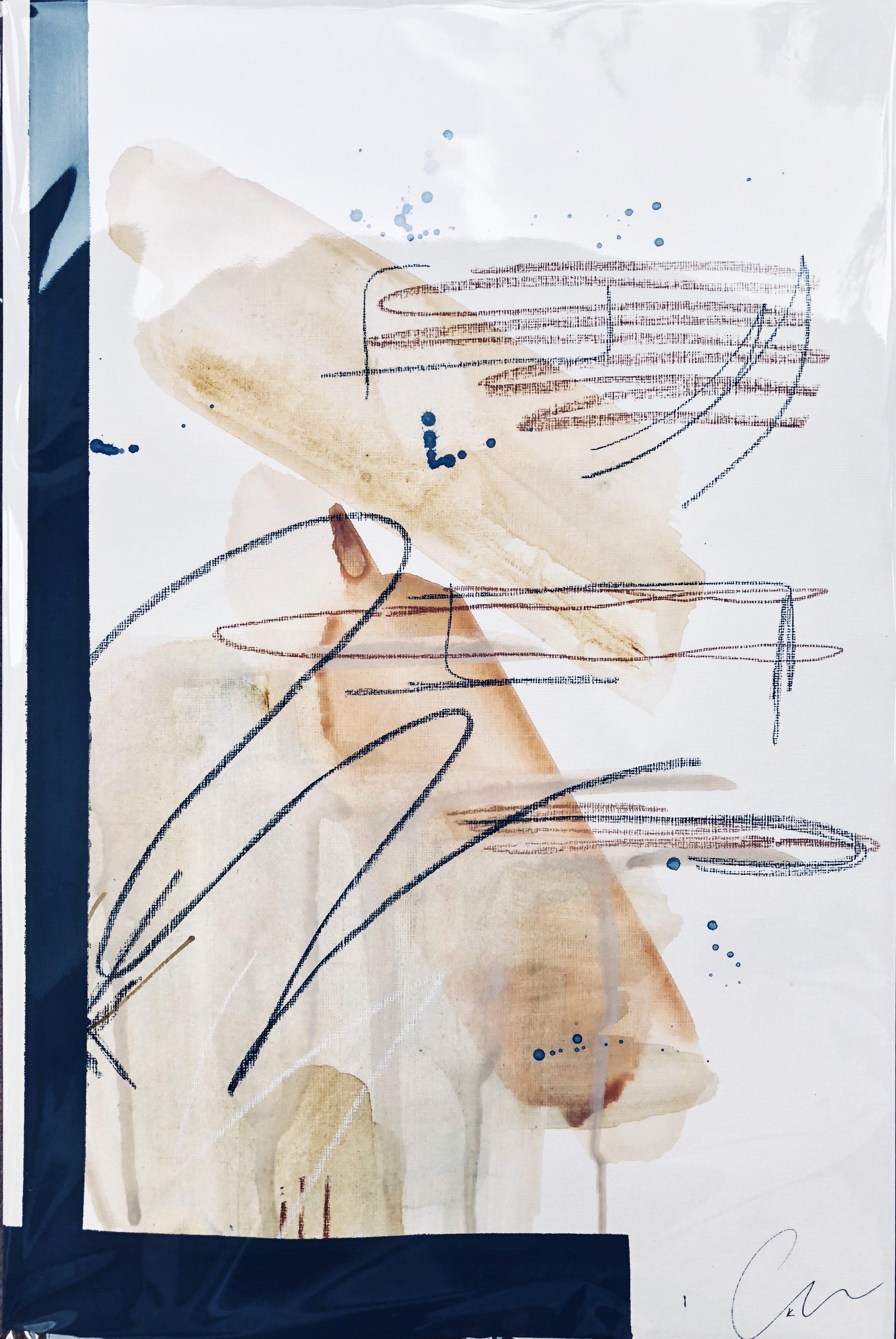 Suntan I - mixed media on paper | 12 x 18