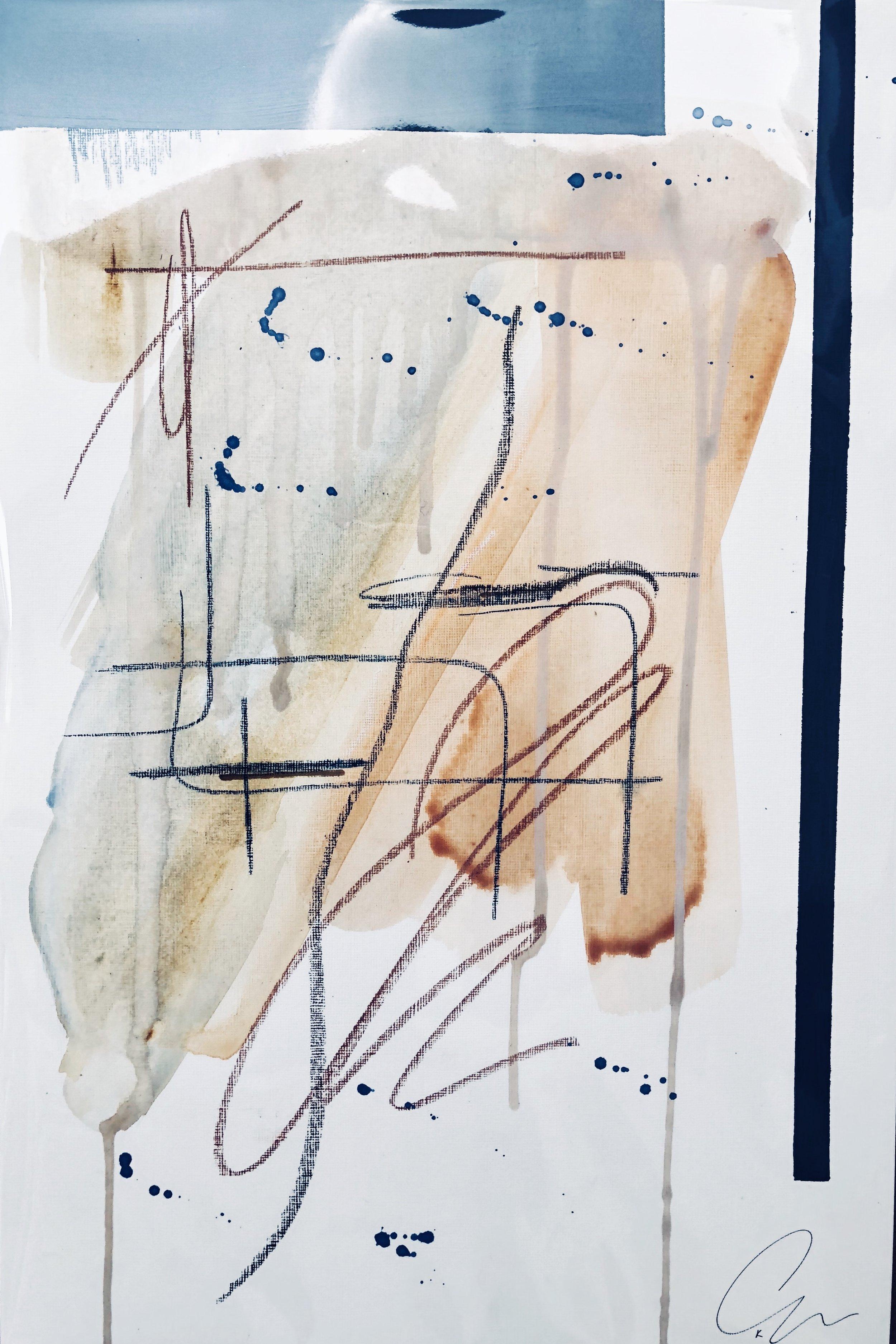 suntan II - mixed media on paper | 12 x 18