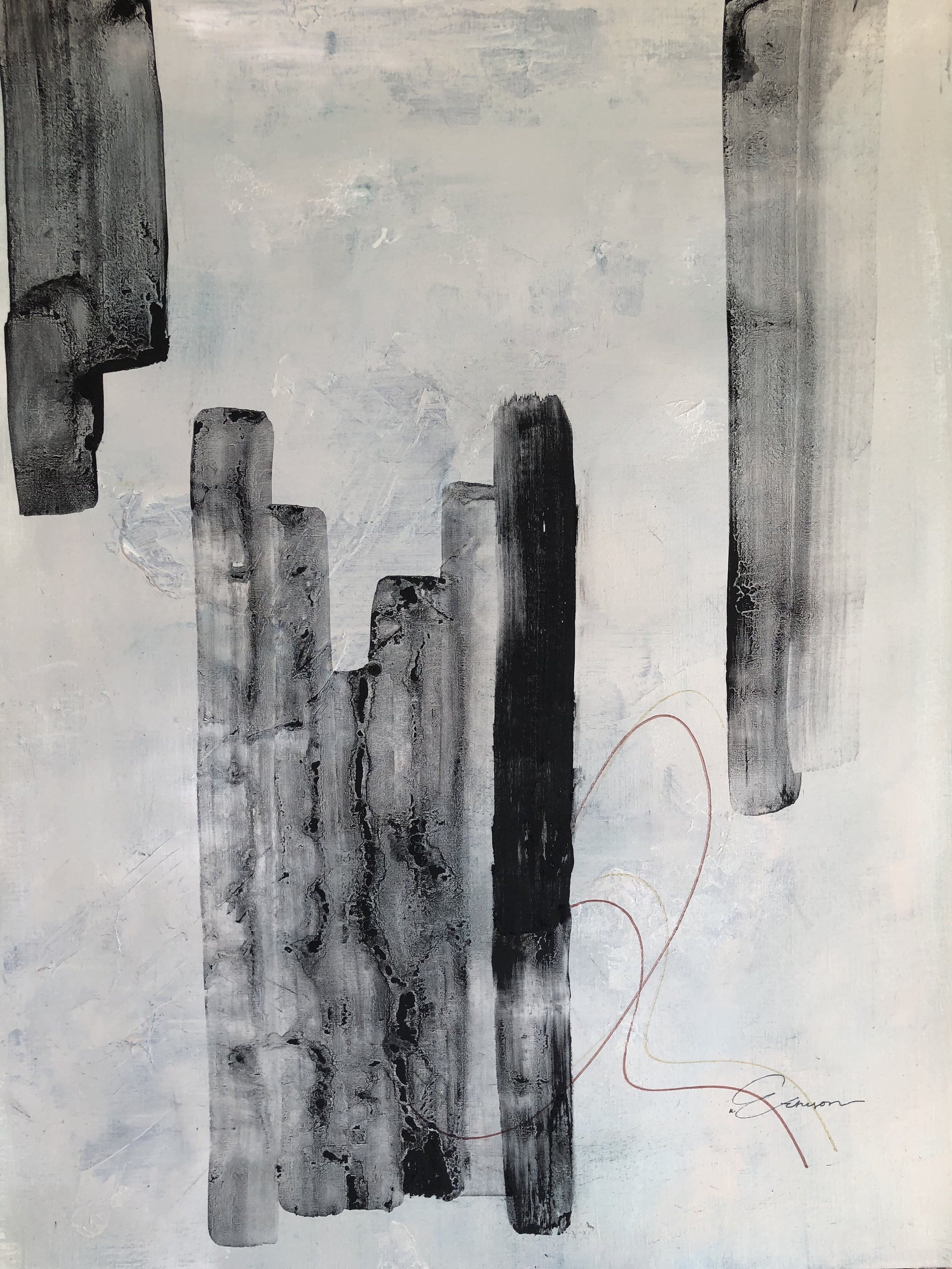 SOLD - REMODELING IVMIXED MEDIA ON PAPER 18 X 24
