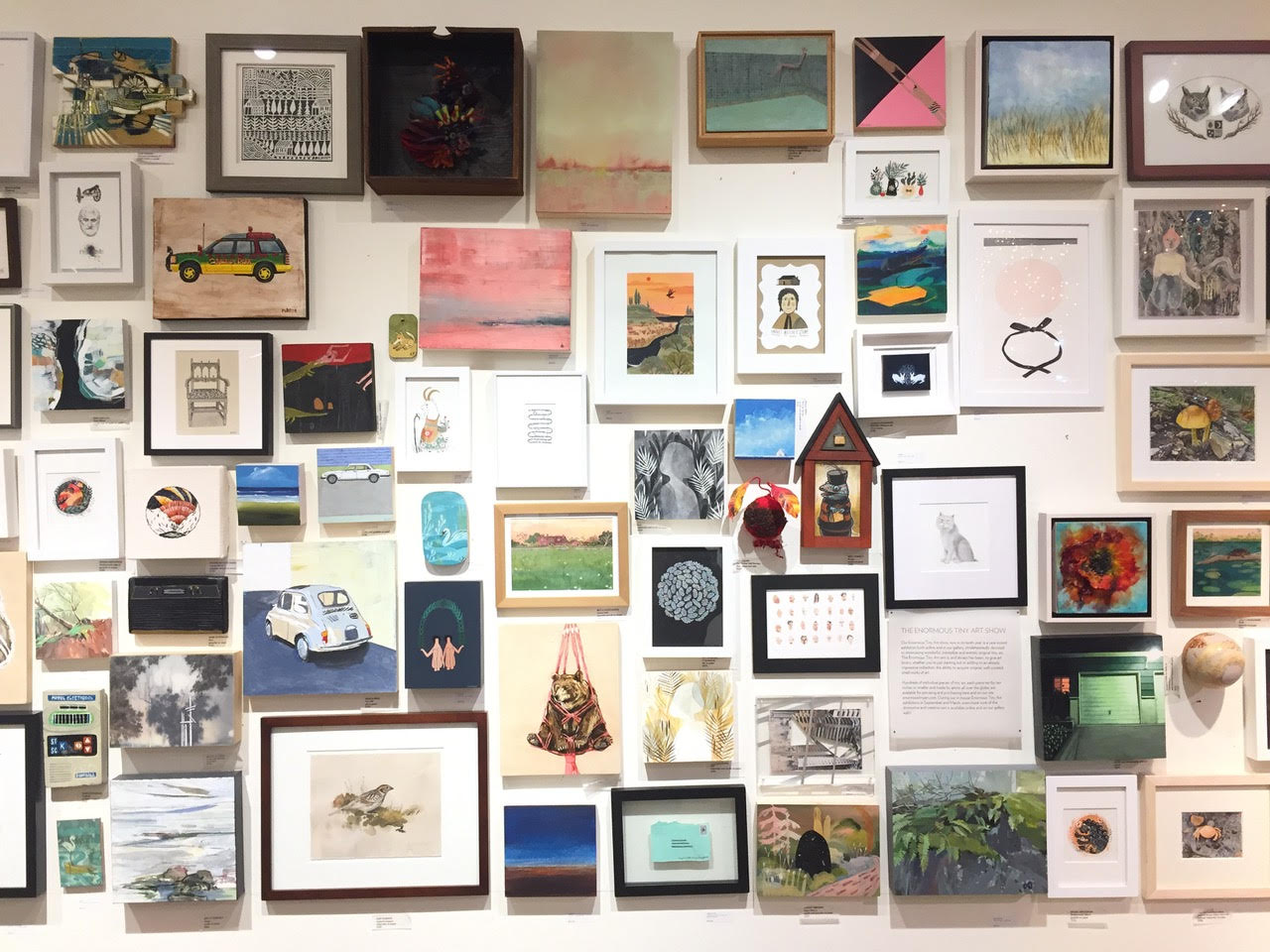 When the Enormous Tiny Art show is not up, a salon wall of tiny art is always available!