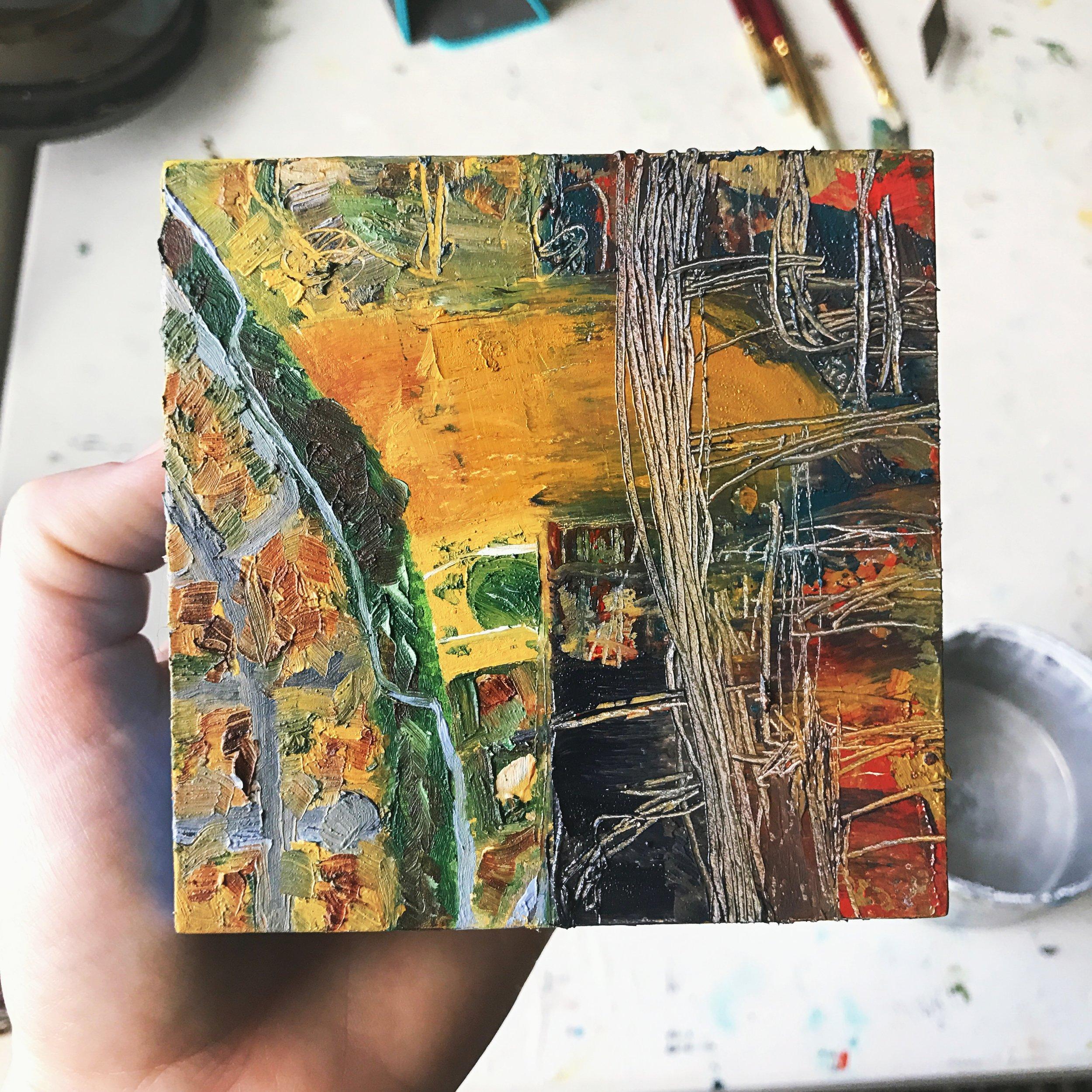 """Half Broken, 4x4"""" oil on panel"""
