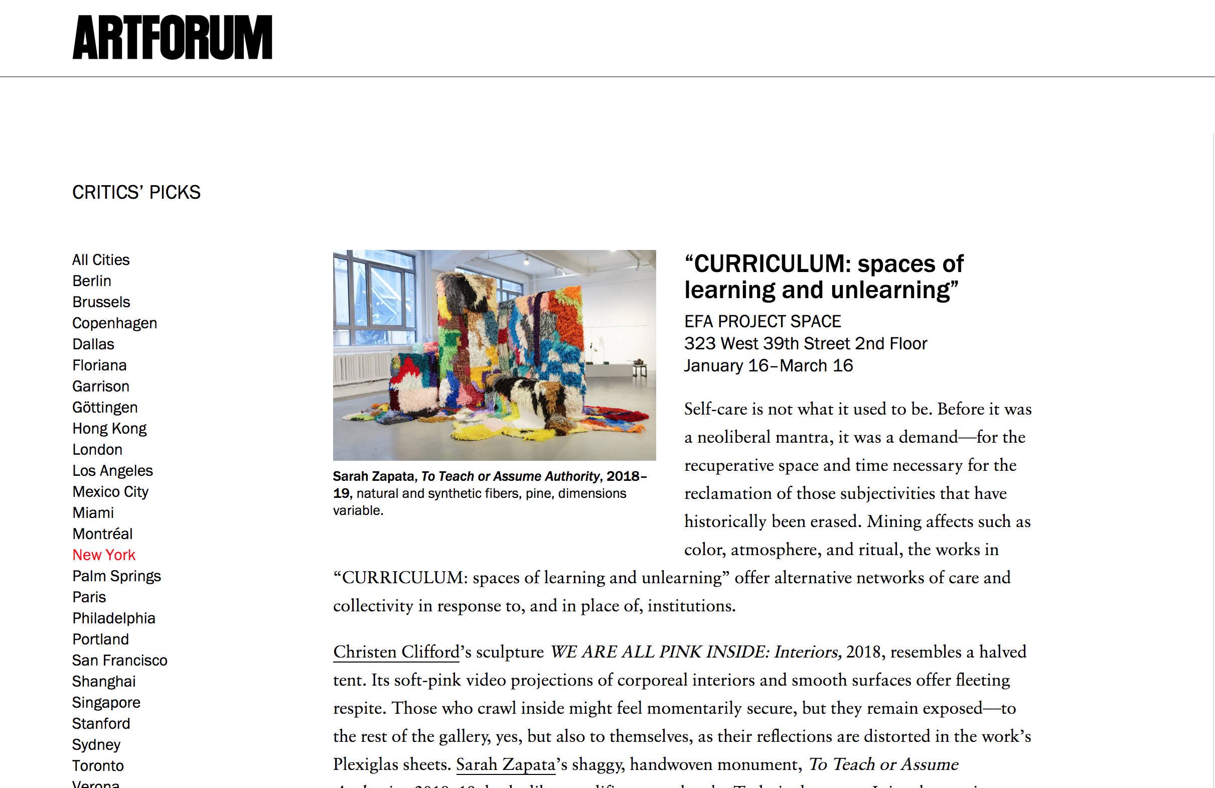 "Critic's Pick in  Artforum , February 2019 ""….transgressive, haptic, porous, and intimate."""