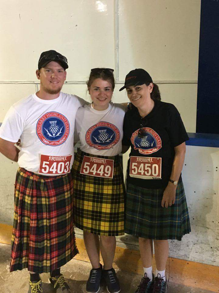 Norma Mesman doing her first kilt run with daughter and son-in-law