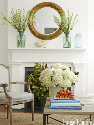 house beautiful mantel flowers