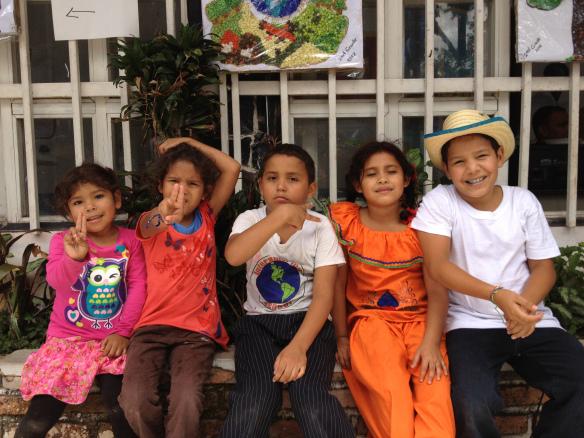 Rosie, Dayana, Jonatan, Escarleth, and Arol at Interamerican Schoo