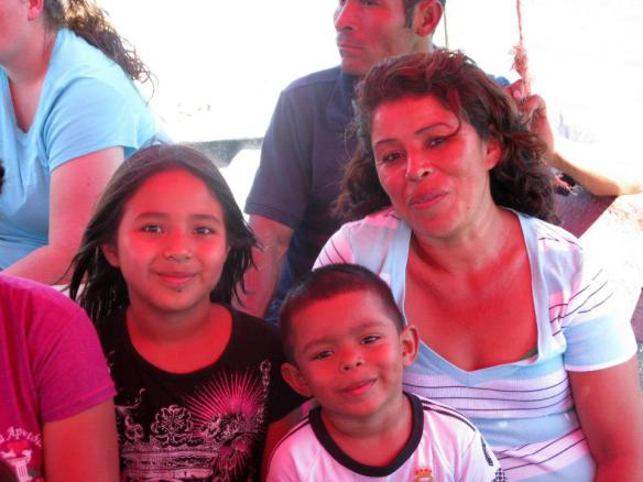Martha with her children Hengi and Tobasqui at last year's Beach Christmas