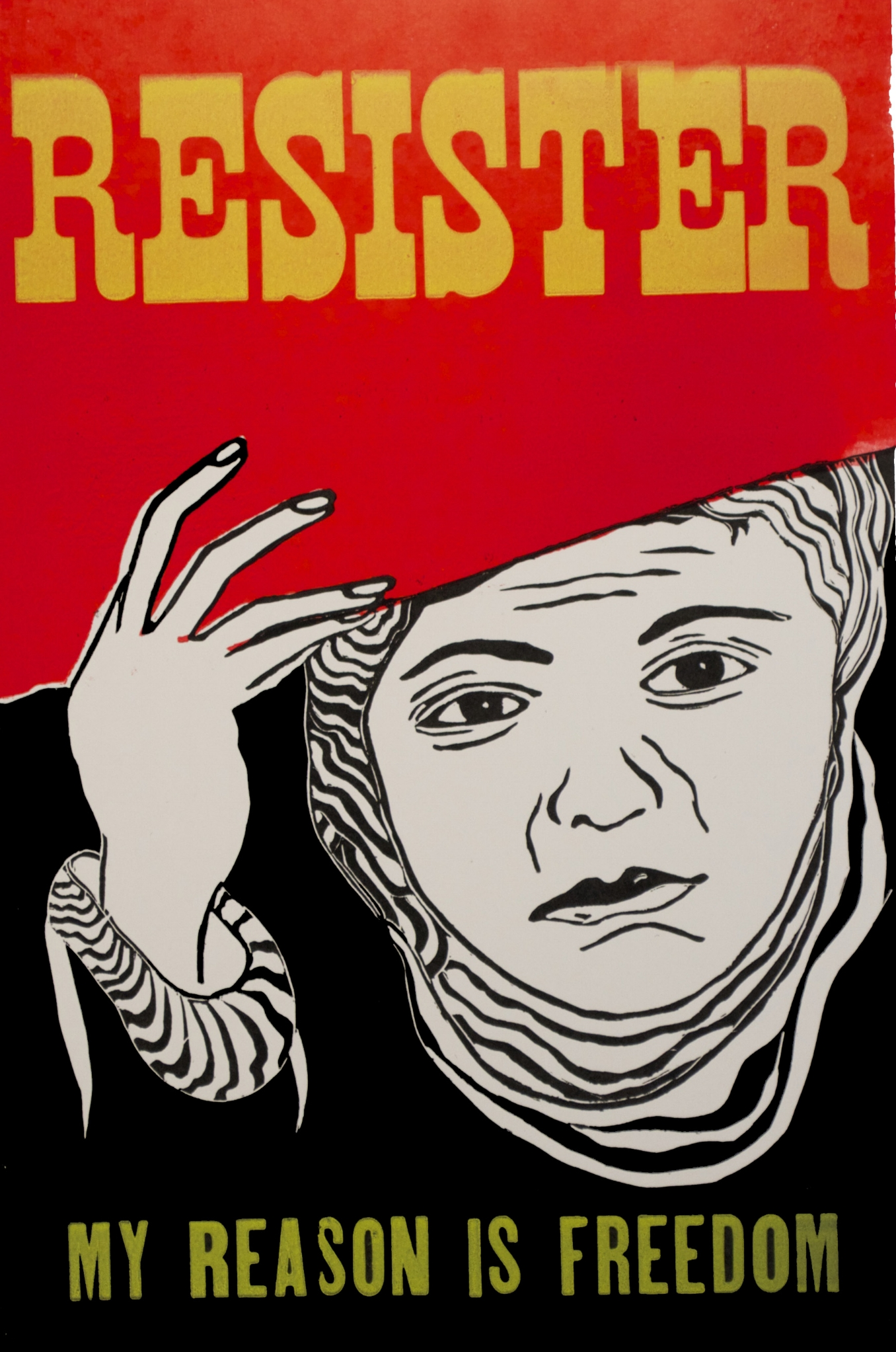 "resist sister, linocut and letterpress print on poster paper, 14""x22"""