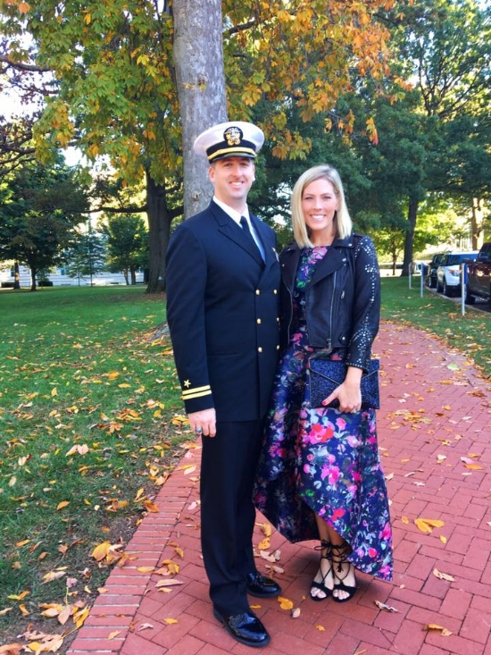 Stephanie in Rent the Runway at Naval Academy Wedding