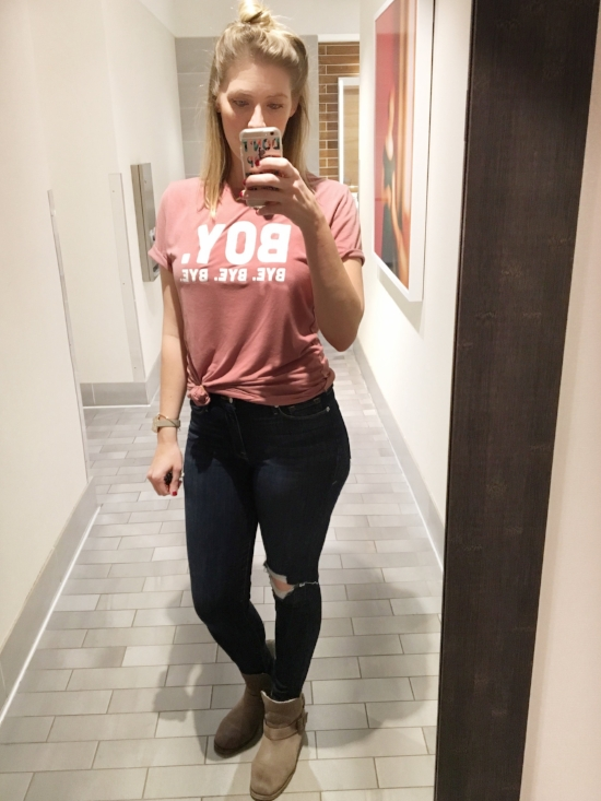 You can never go wrong in a tee shirt and jeans.