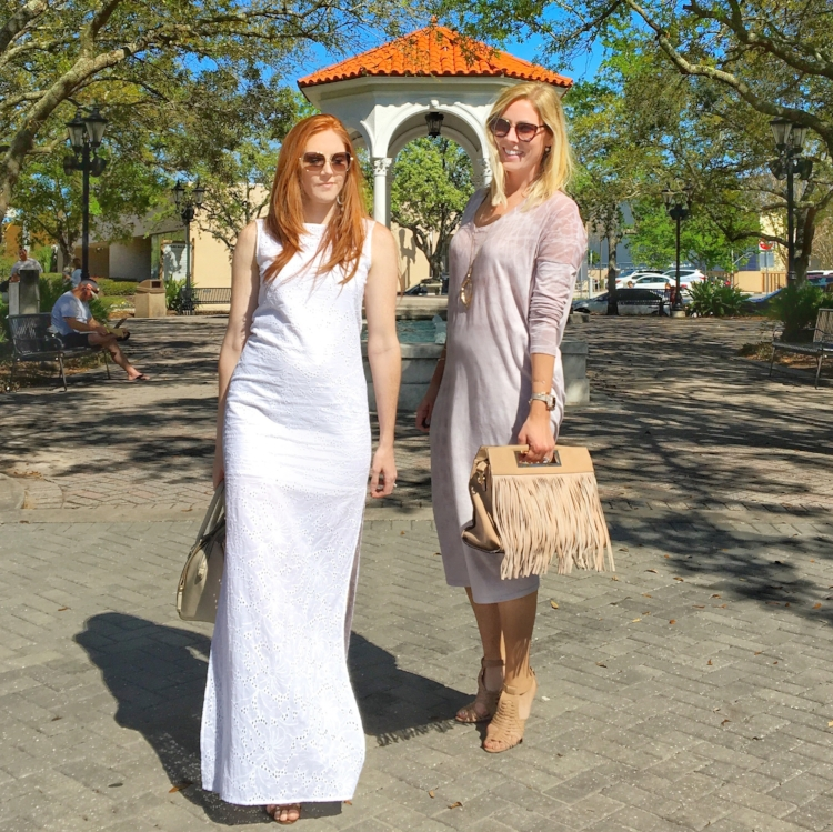 Kimberly showing off her baby bump in Rachel Antonoff and Stephanie in Raquel Allegra caftan...both purchased with our favorite stylist, Amelia, at Penelope T Boutique in Jacksonville Beach.