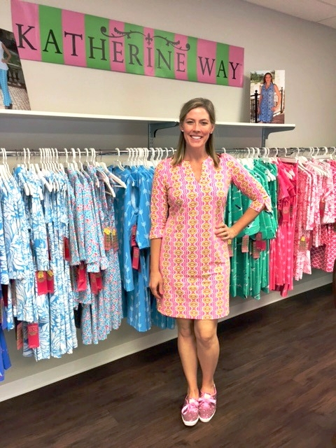 Stephanie wearing the Vero dress in colorway Rain Pink & Lime in the Katherine Way showroom in Jacksonville, Florida.
