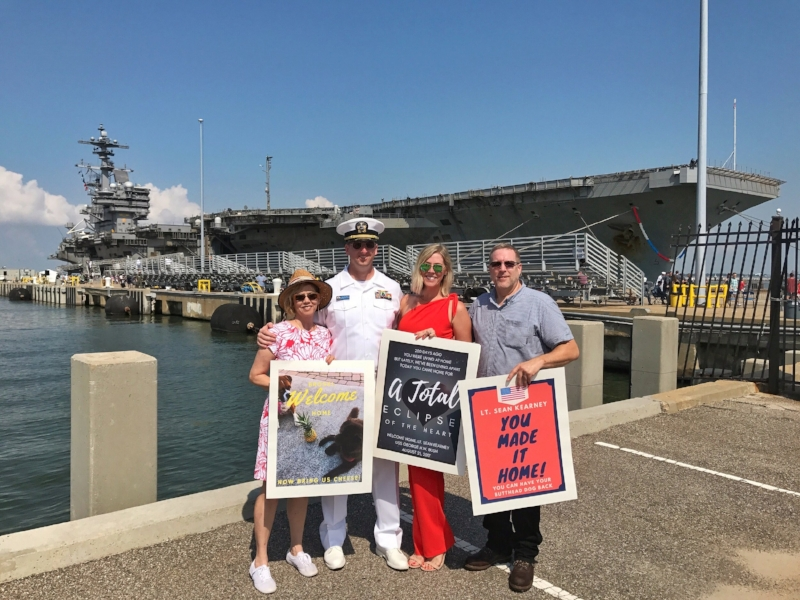 The Mack Kearney Family - From L to R: My Mom, Sean, ME & and my Dad in front of the USS George HW Bush Carrier in Norfolk, Virginia on Monday, August 21, 2017 - #SolarEclipse2017