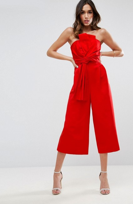 Structured Jumpsuit with Knot & Drape Detail