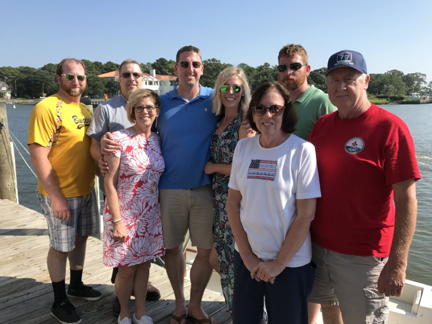 The Mack Kearney Family at Lunch on Monday, August 21 after the USS George HW Bush returned to Norfolk. From L to R (in back): Sean's brother, Tim; My Dad, Gary; Sean, Me, Sean's brother, Matt; Sean's Dad, Jim. From L to R (in front): My Mom, Nan and Sean's Mom, Millie. We ate lunch at Chick's Oyster bar in Virginia Beach, VA. We were able to watch the Solar Eclipse from the waterside tables.