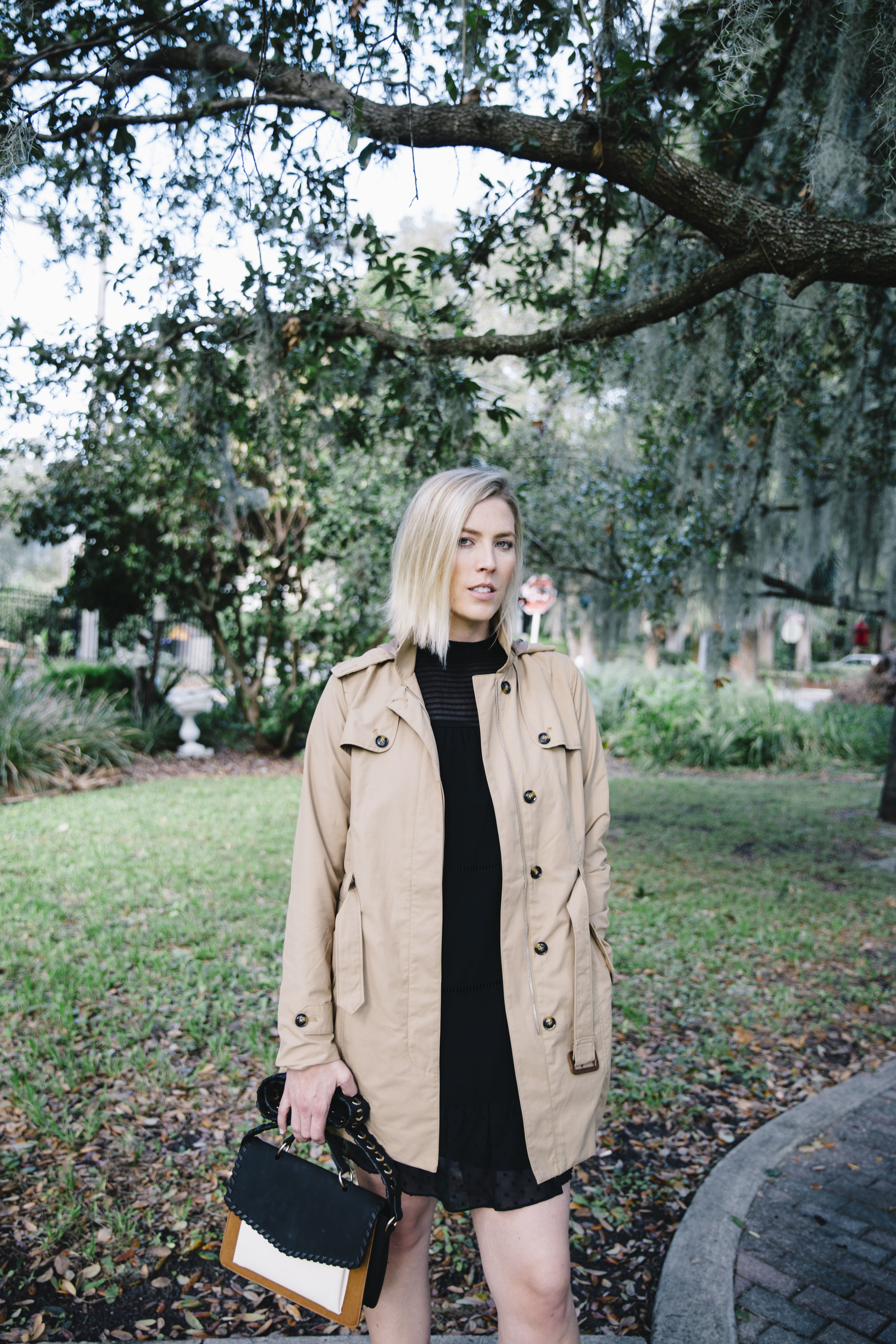 The Borrowed Babes Fashion Blogger Stephanie Mack Kearney wearing Target Style – A New Day Trench Coat with Who What Wear Dress and Handbag