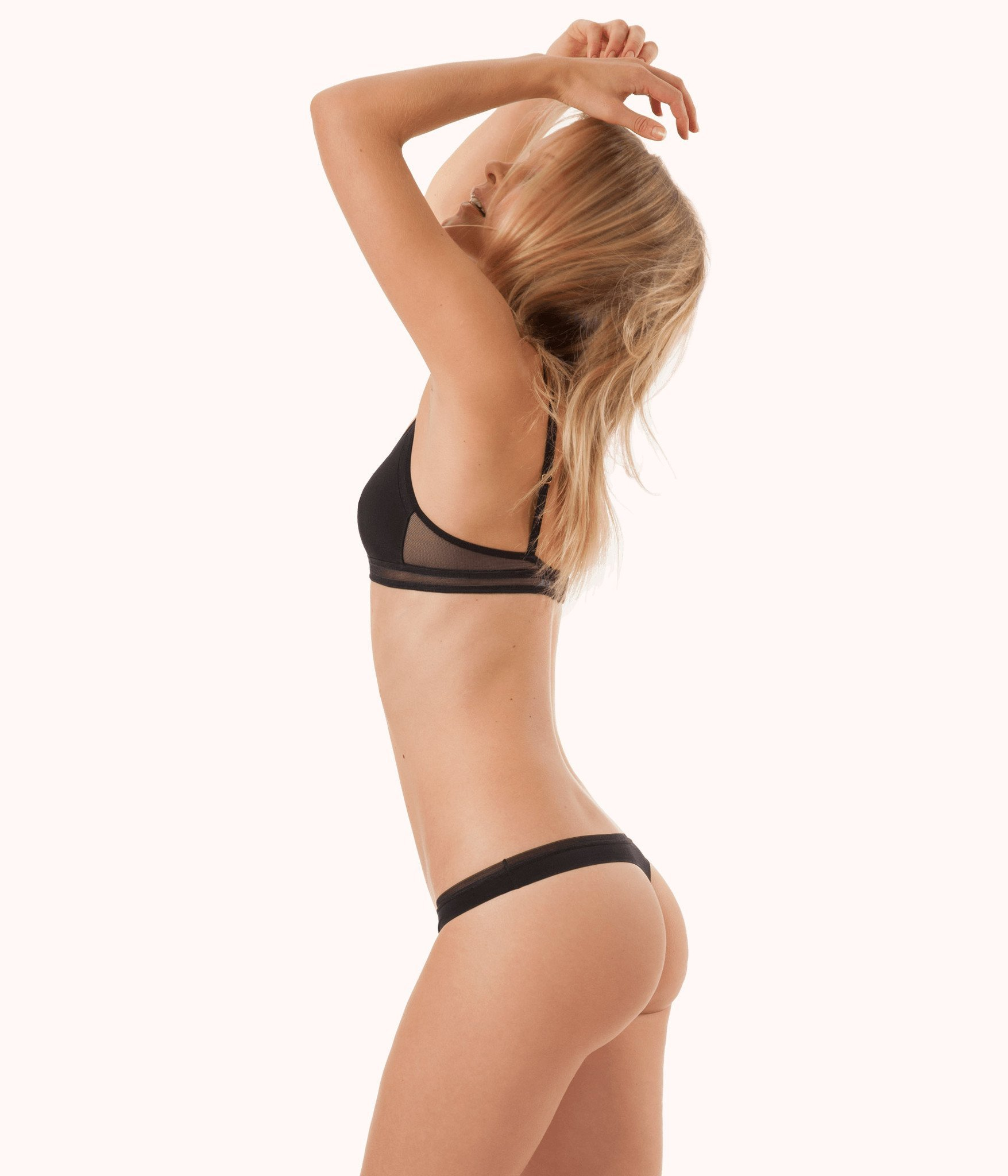 No Show Thong in Black Wear Lively      Leisuree lingerie featured by top US fashion blog, The Borrowed Babes