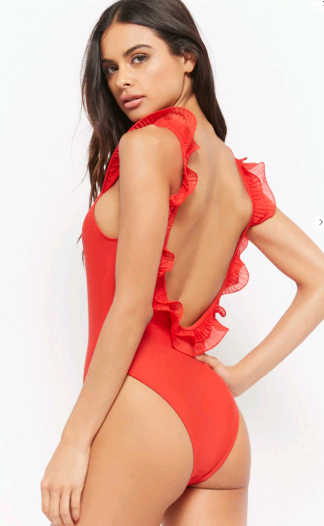 Love Back Ruffled One Piece Swim Suit by Forever 21 |  | The Best Sexy One Piece Suits featured by top US fashion blog, The Borrowed Babes