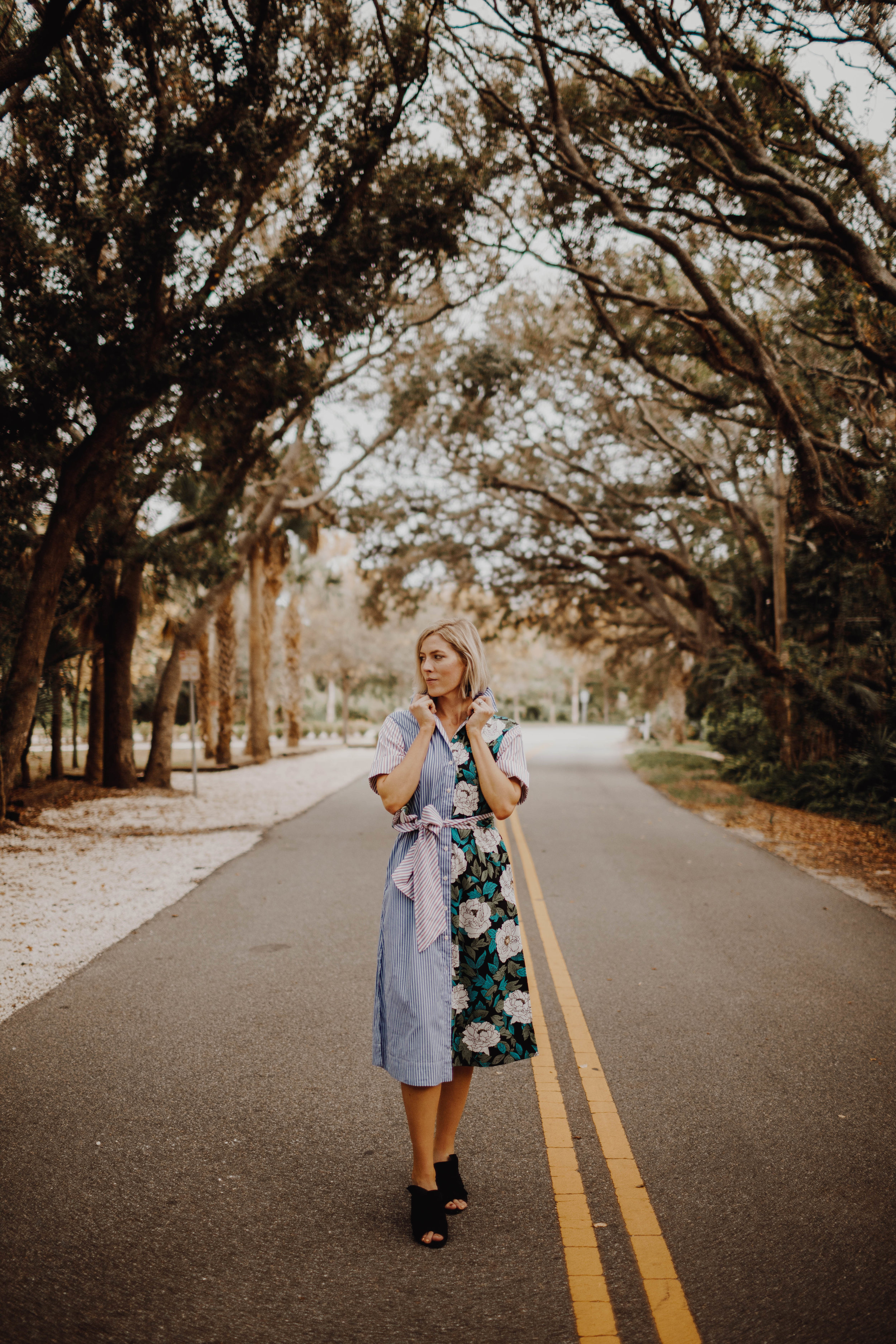 Mixed Print Shirtdress from Rent the Runway worn by Stephanie Mack of The Borrowed Babes Fashion