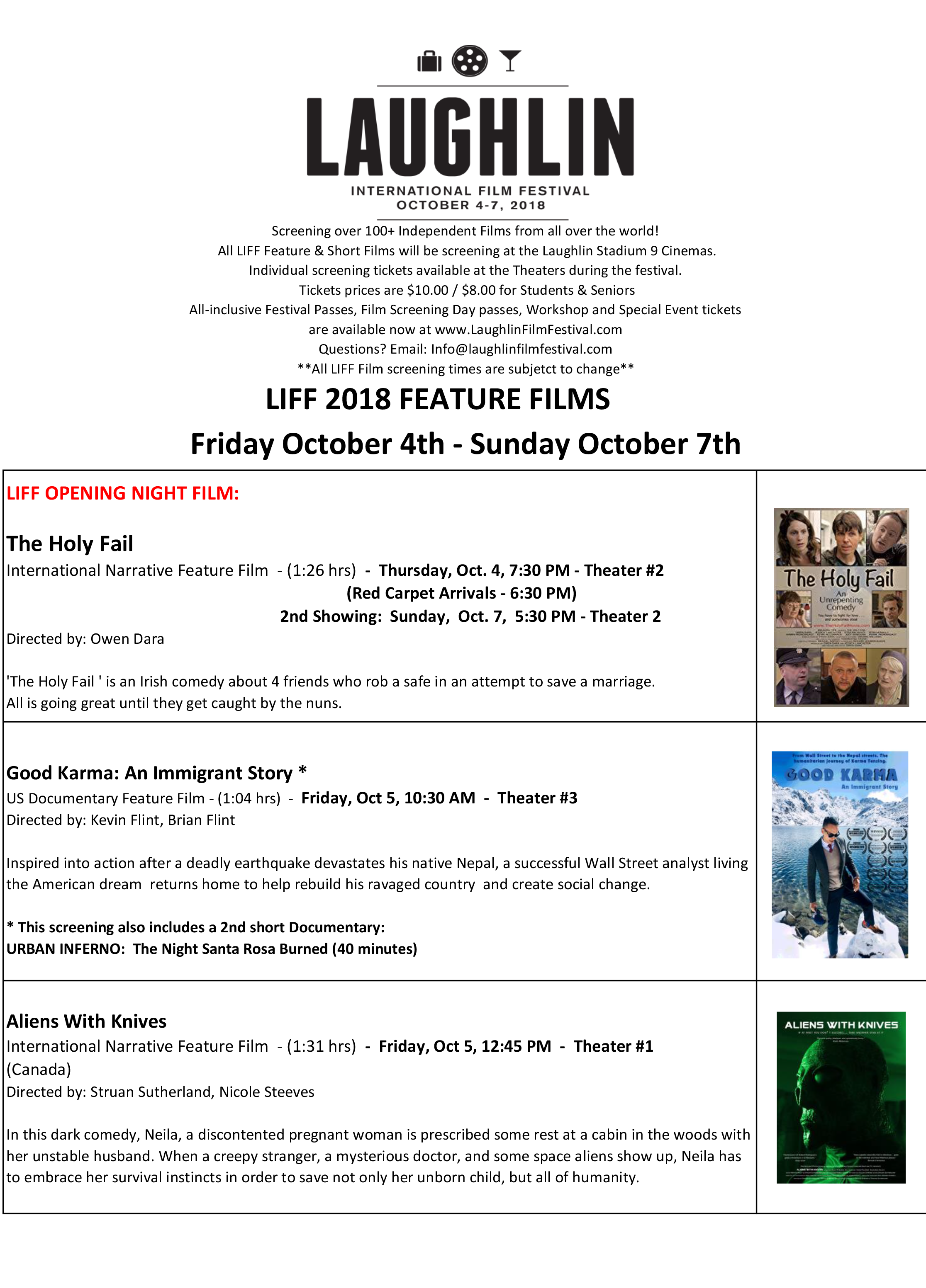 FEATURE FILM SCHEDULE - ALL DAYS