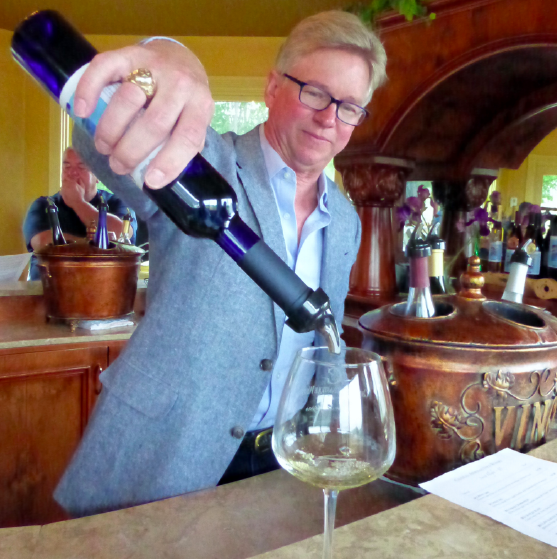 Airline pilot-turned winemaker Lorenzo Lizarralde pours samples at Chateau Aeronautique.