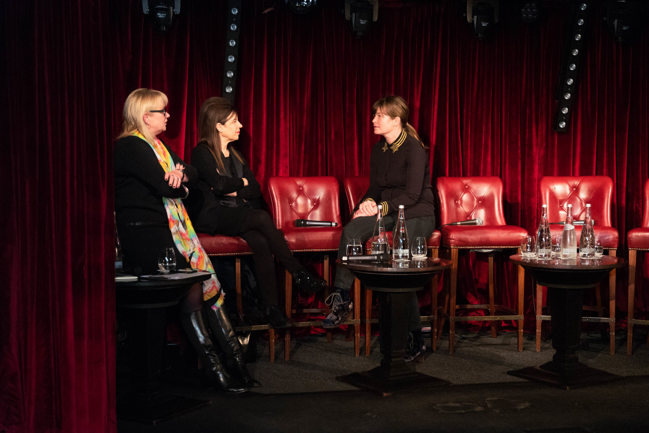 Moderator and Executive Committee member Louisa Buck with Advisory Board members and panellists Maureen Paley and Kate MacGarry