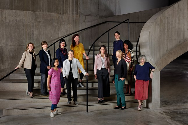 From left: Kate Gordon, founder and CEO of London Art Studies, and co-founder of the Association of Women in the Arts. Kate MacGarry, gallerist. Rana Begum, artist. Emma Dexter, director of visual arts at the British Council. Frances Morris, director of Tate Modern. Sarah Munro, director of Baltic. Victoria Siddall, director of Frieze Art Fairs. Hannah Barry, gallerist. Cheyenne Westphal, chairman of Phillips. Zoe Whitley, curator of international art at Tate. Rose Wylie, artist. Photographed at Tate Modern