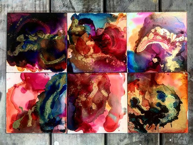Loving these put together so much.  #abstract #alcoholinkart #alcoholinks #inks #abstractart #chicago #art #colorful #painting