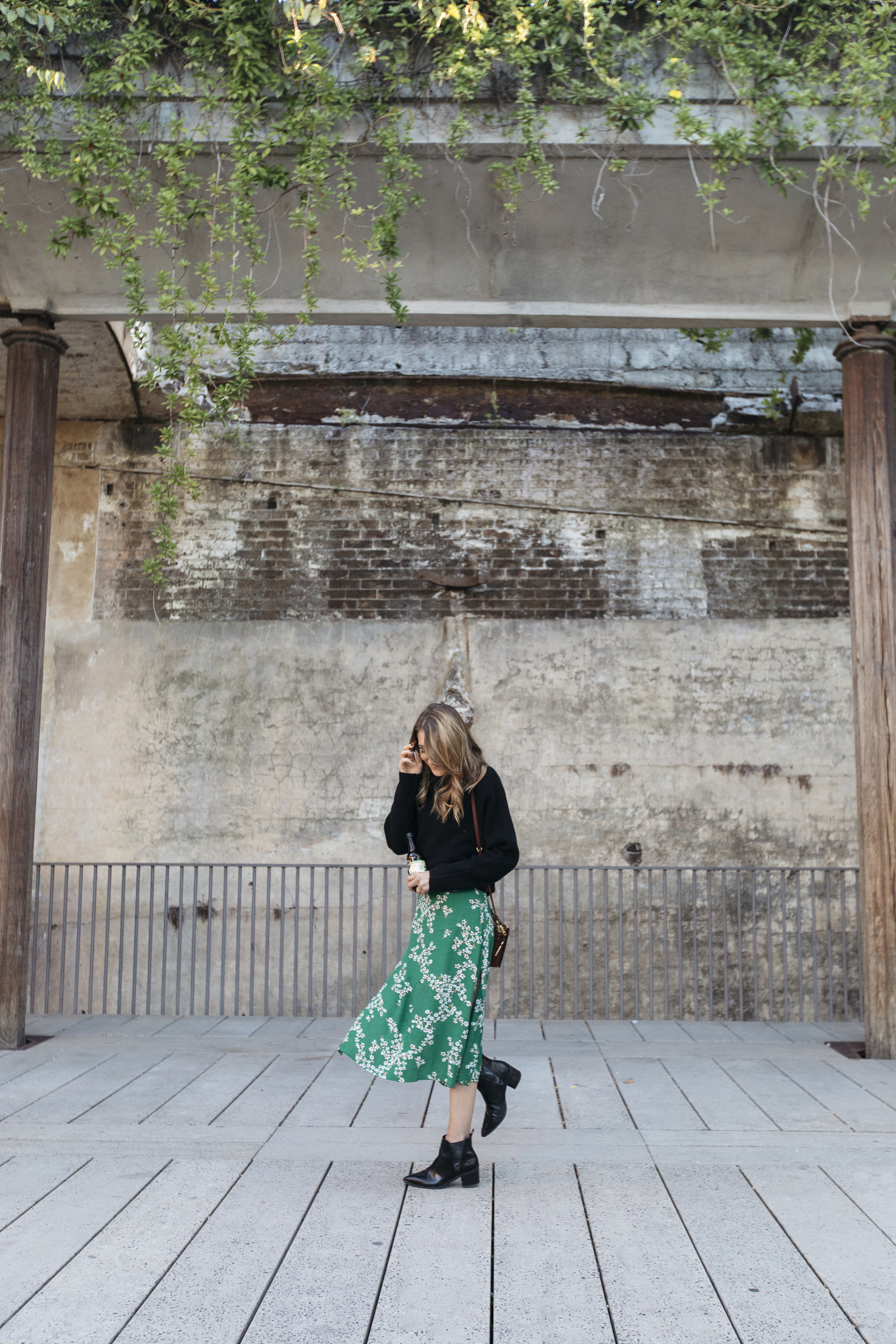 Exploring the streets of Australia in a fashionable green maxi skirt