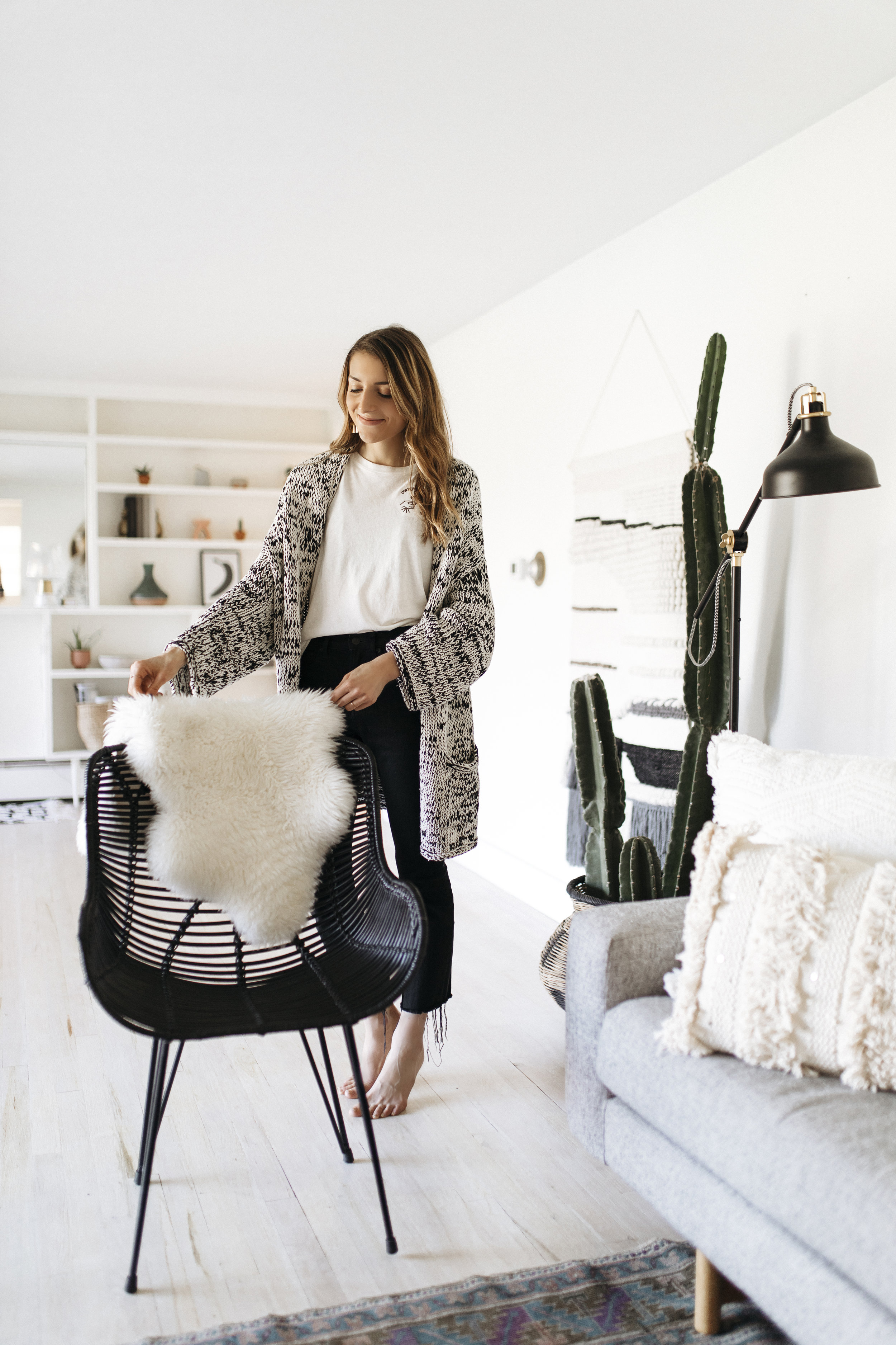 Sheepskins and blankets are a no-brainer for cold weather decor and to Hygge up your home. They are so versatile for laying