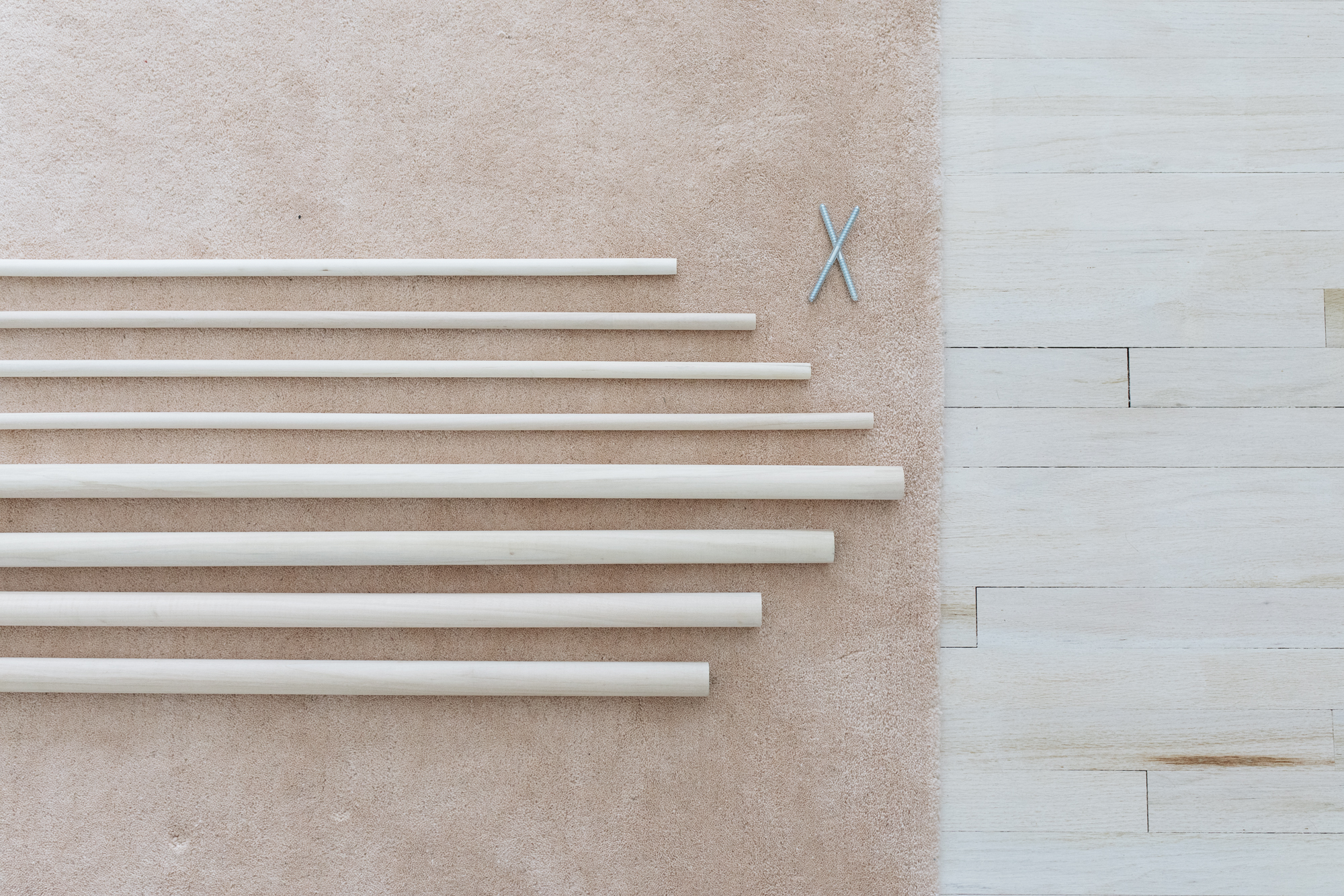 I loved the way dowel ladders look so I found some dowels and we got started on our diy