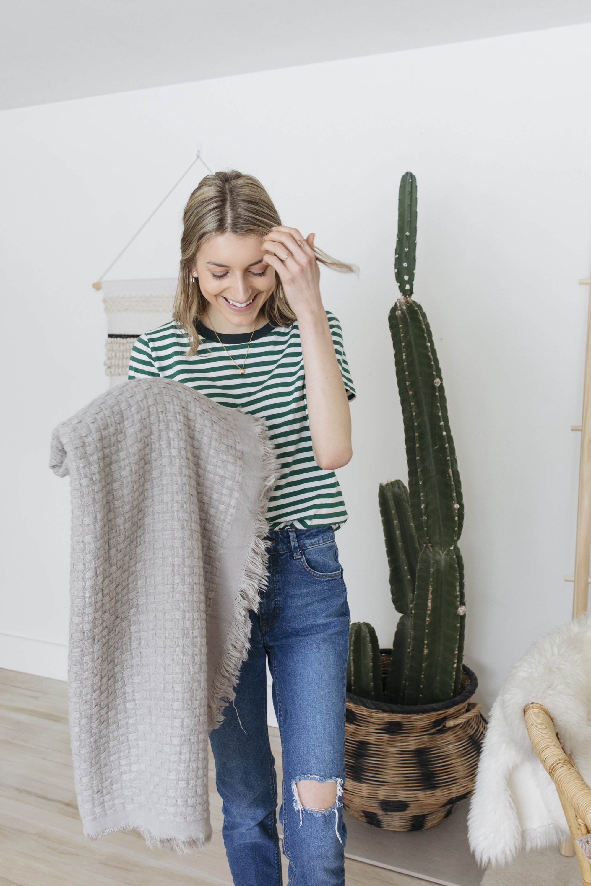 Blankets are a fun was to bring an aesthetic to a room (or diy ladder) and they are cozy!