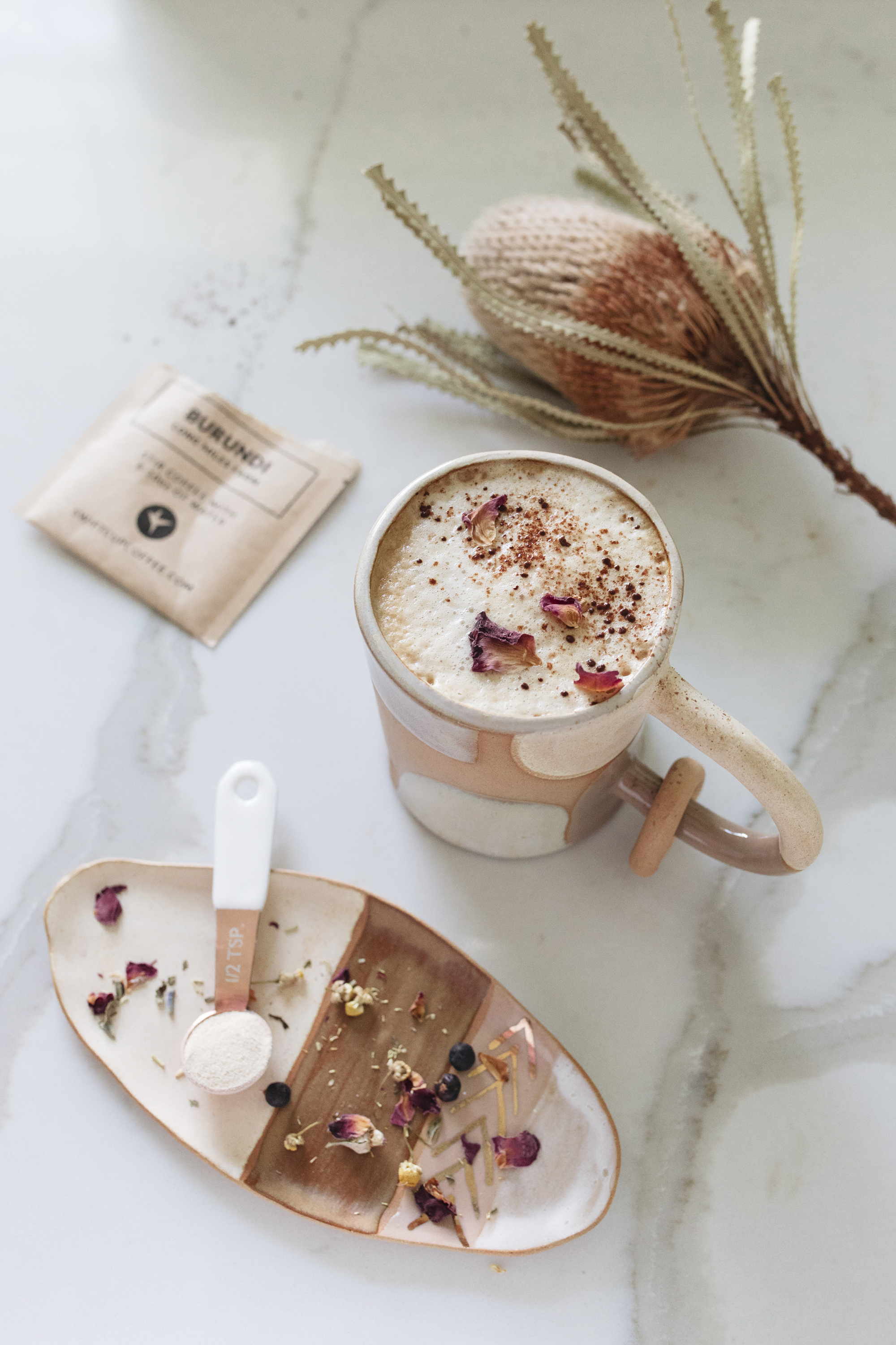 dried flowers make coffee a little extra creative and festive for the morning!