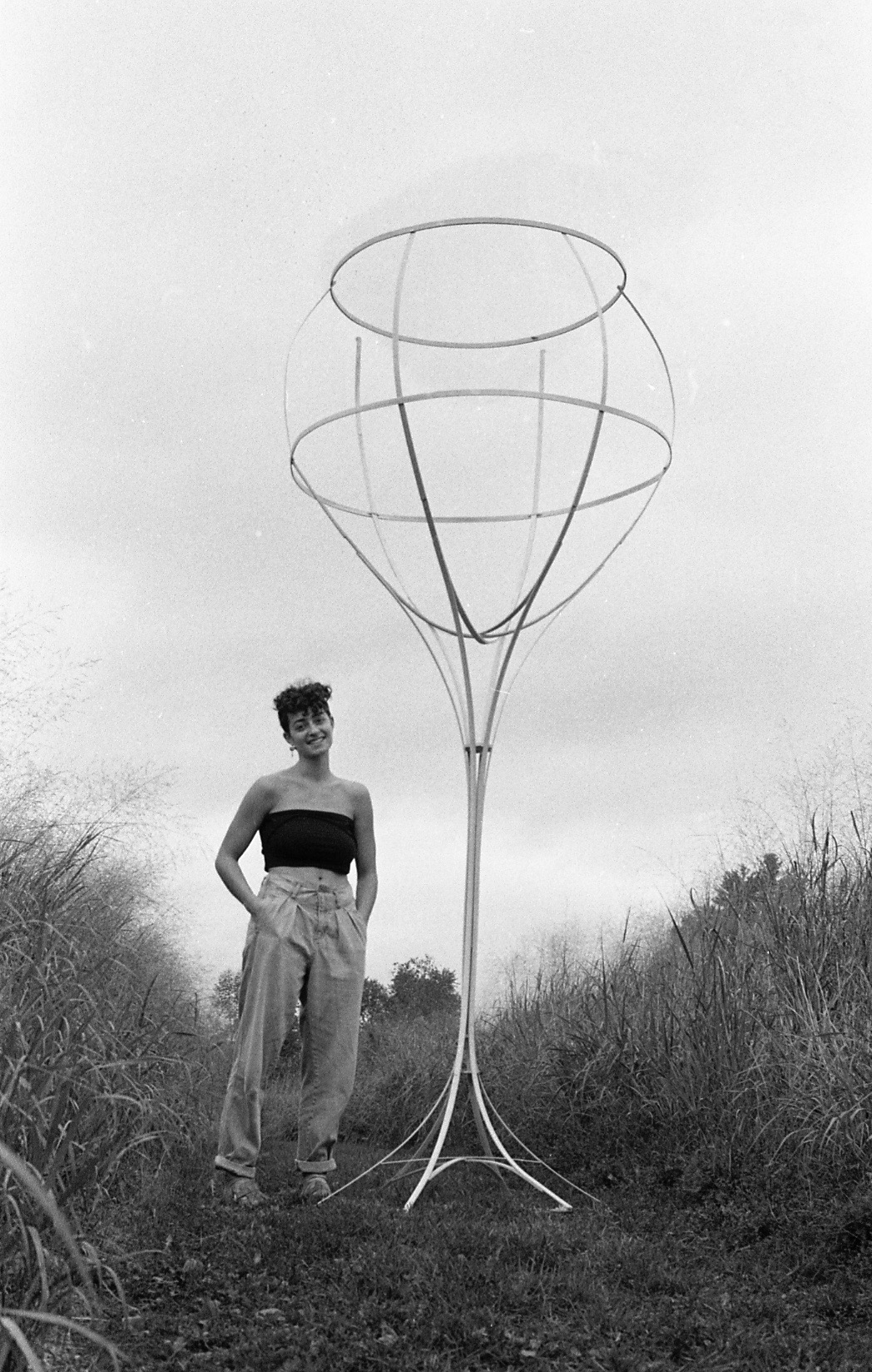 Louisa Parker with one of her class sculptures at Bennington College.