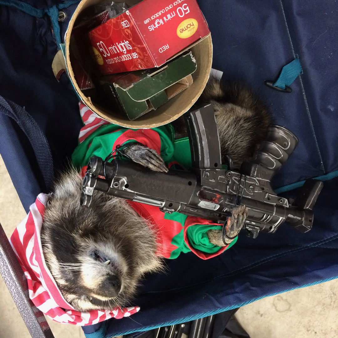 Raccoon-sized machine gun prop   Killer Raccoons! 2! Dark Christmas in the Dark!